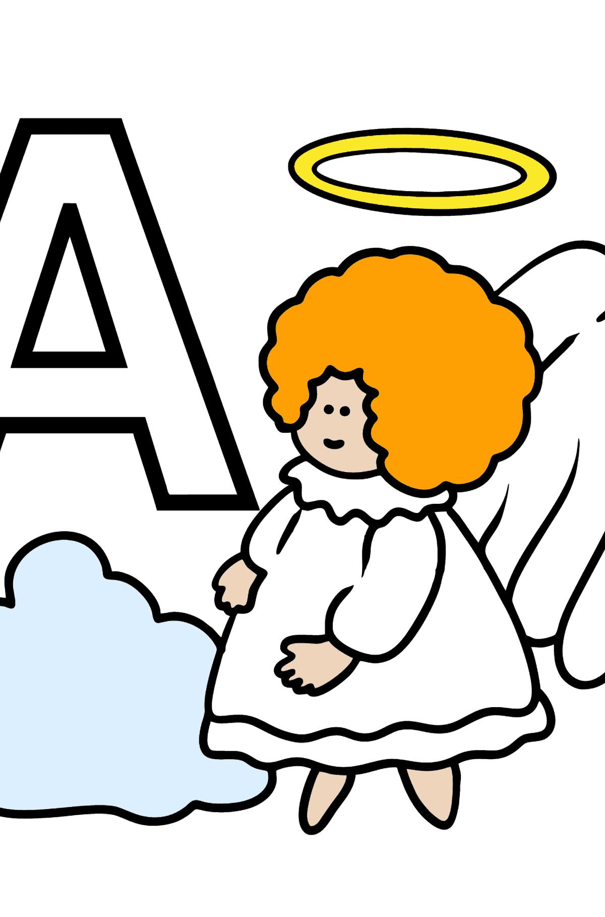 Раскраска Русская буква А - Ангел - Раскраски для Детей