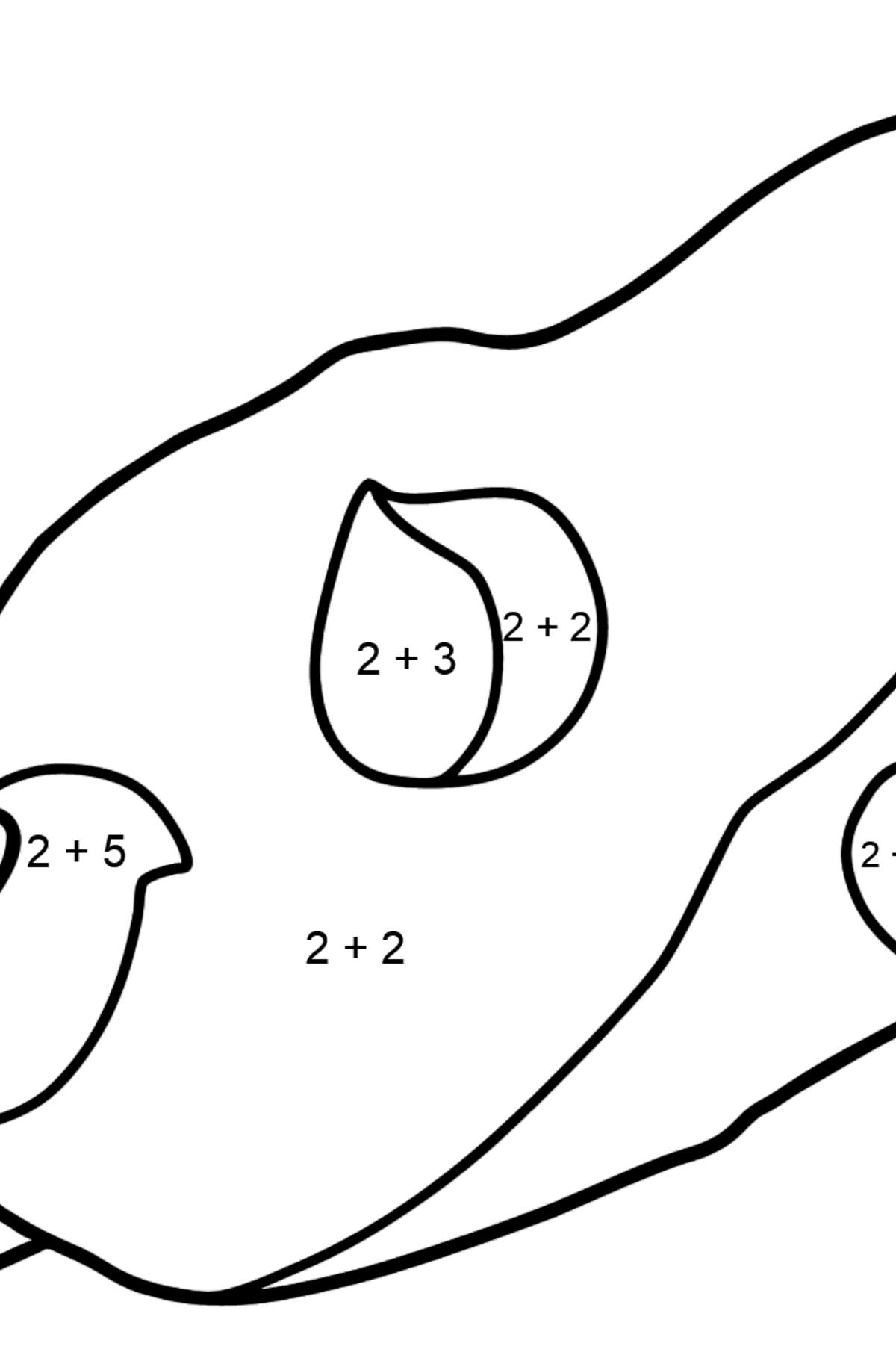 Asteroid coloring page - Math Coloring - Addition for Kids