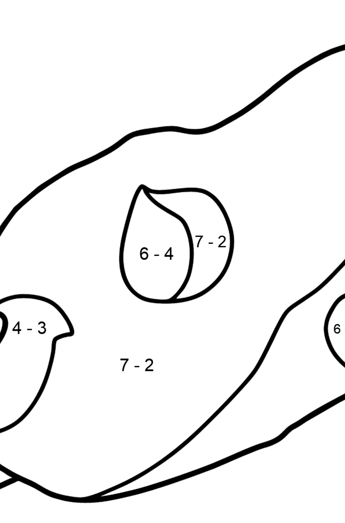 Asteroid coloring page - Math Coloring - Subtraction for Kids