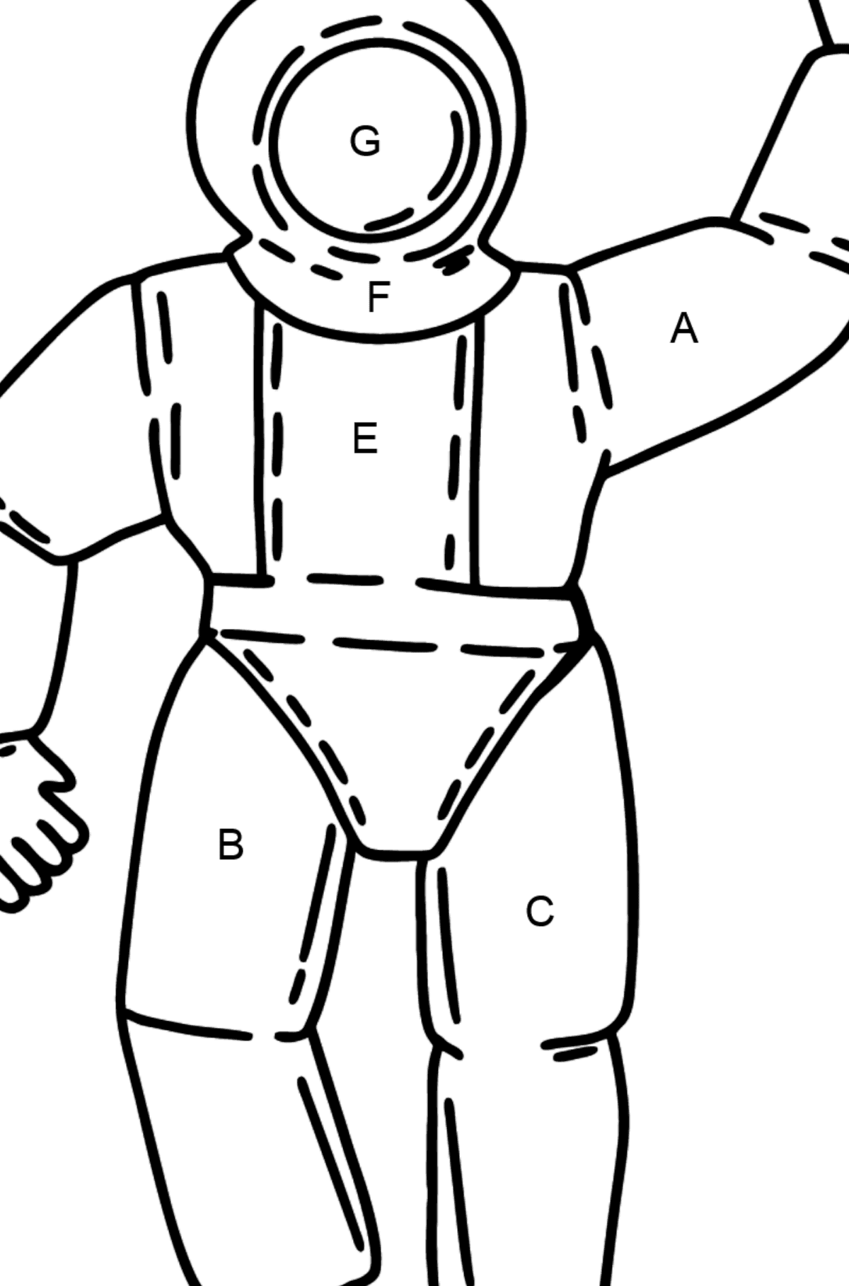 Astronaut coloring page - Coloring by Letters for Kids