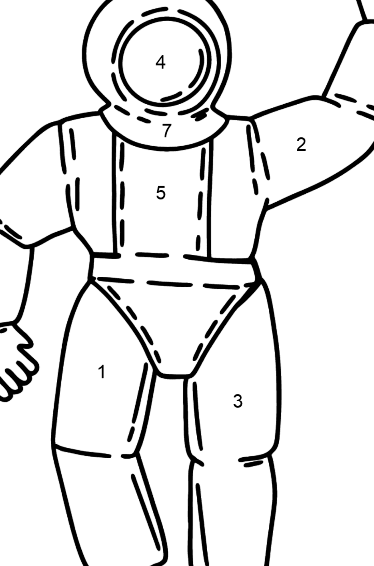 Astronaut coloring page - Coloring by Numbers for Kids