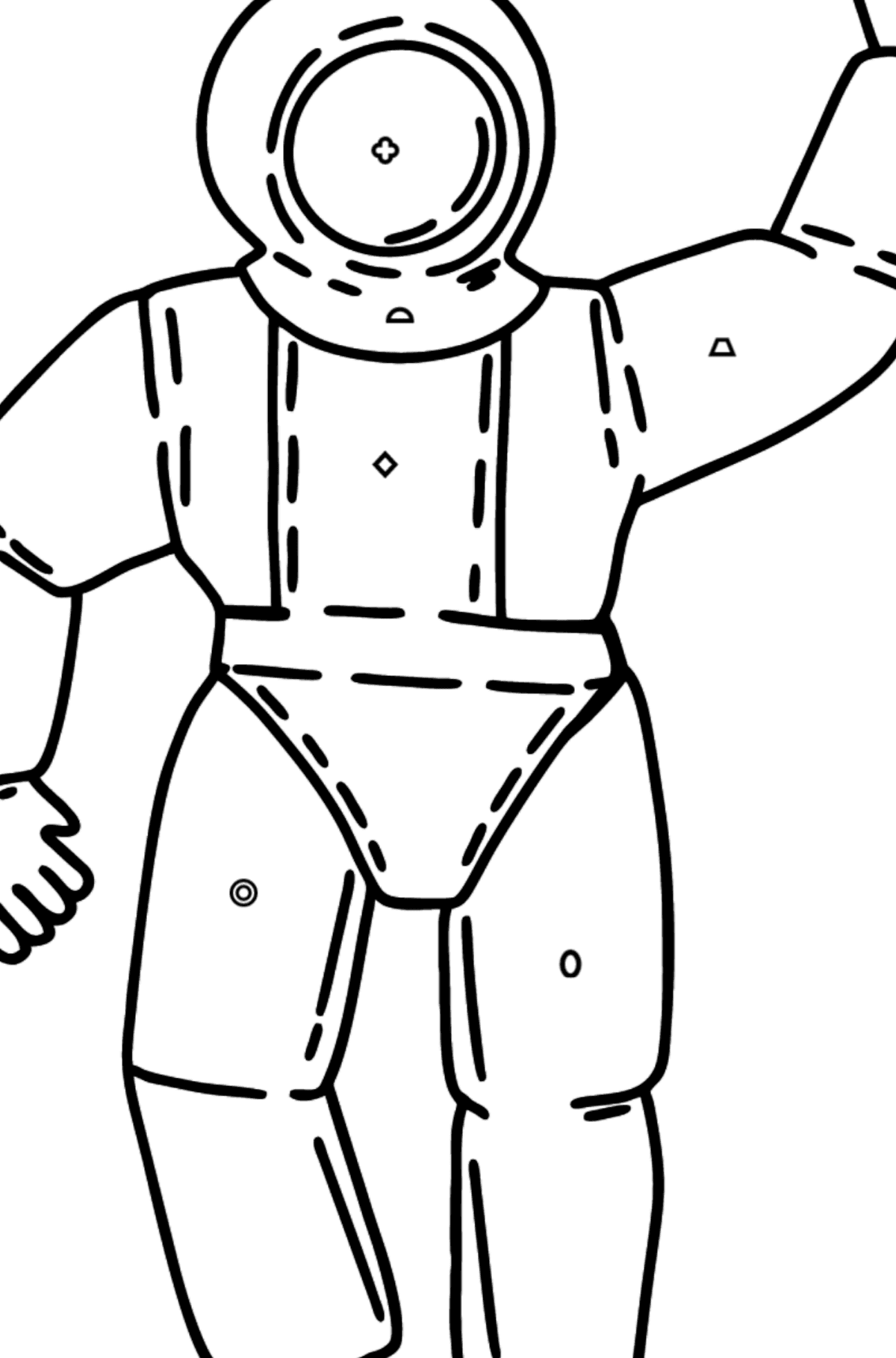 Astronaut coloring page - Coloring by Geometric Shapes for Kids