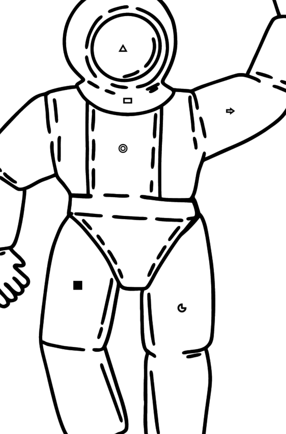 Astronaut coloring page - Coloring by Symbols and Geometric Shapes for Kids