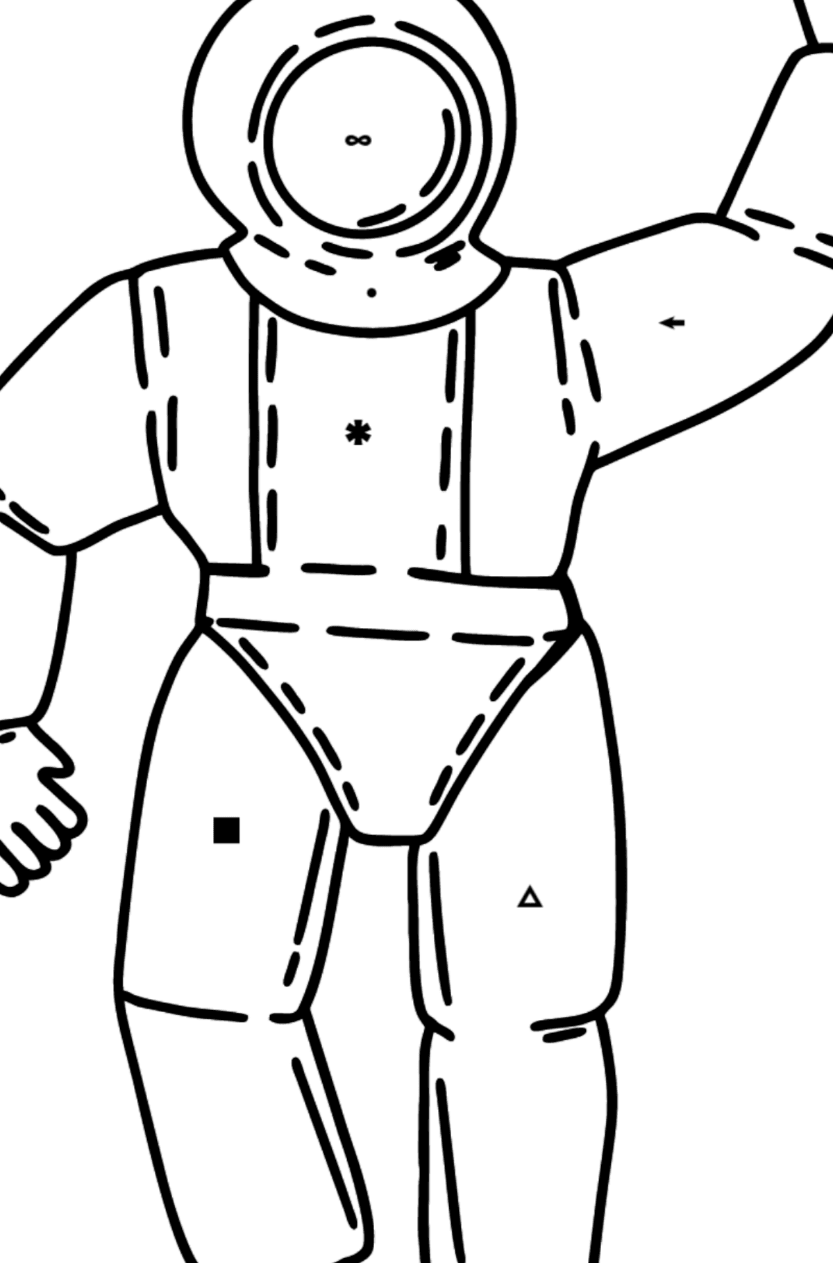 Astronaut coloring page - Coloring by Symbols for Kids