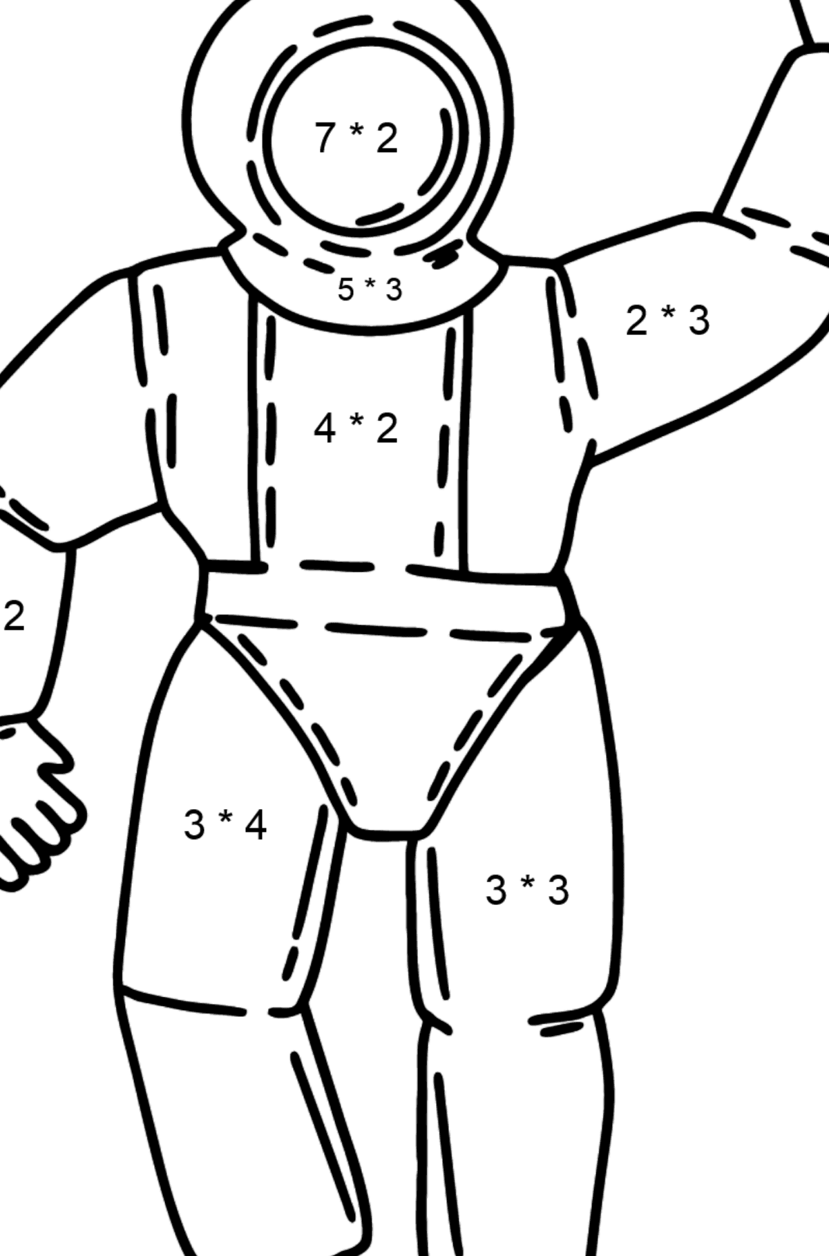 Astronaut coloring page - Math Coloring - Multiplication for Kids