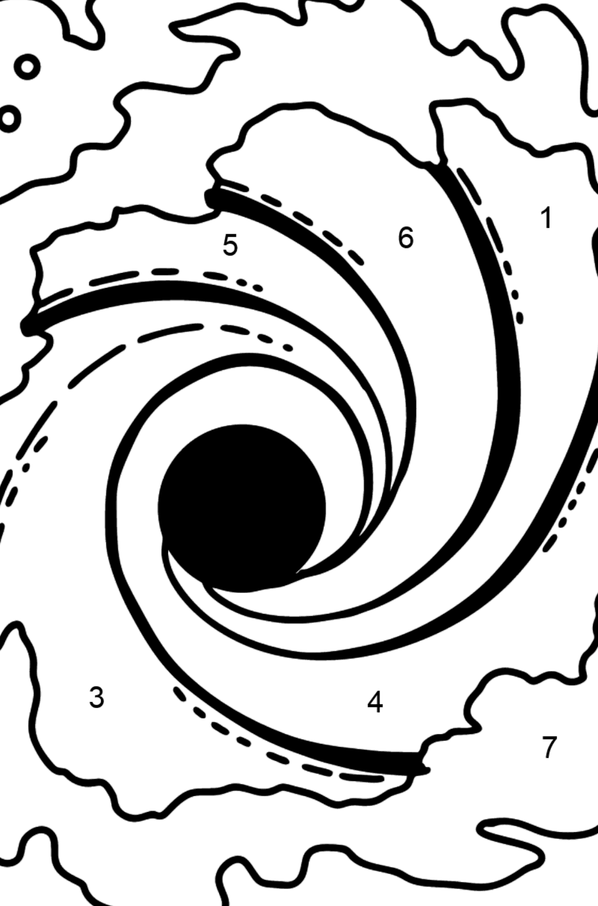 Black Hole coloring page - Coloring by Numbers for Kids