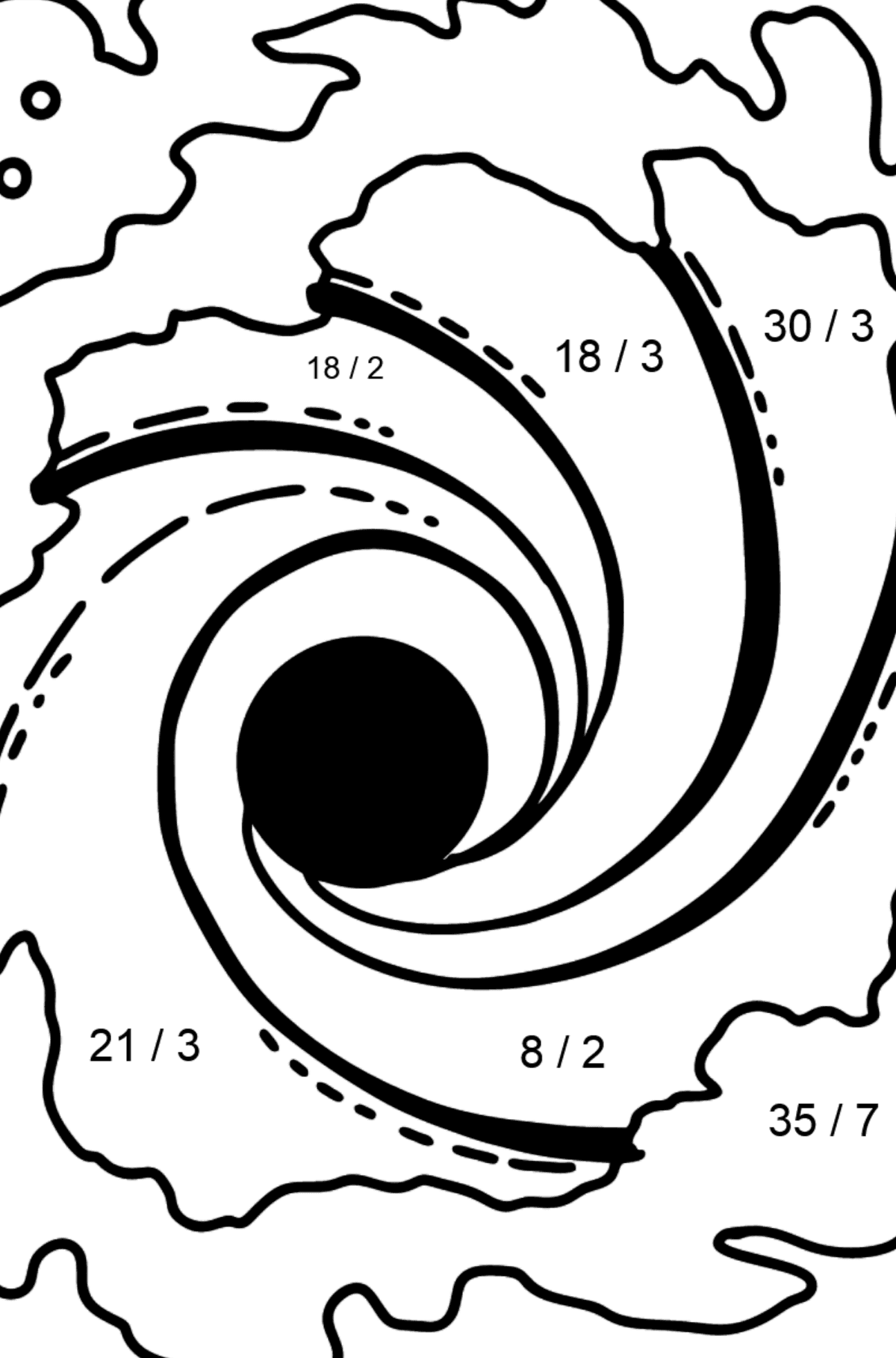 Black Hole coloring page - Math Coloring - Division for Kids