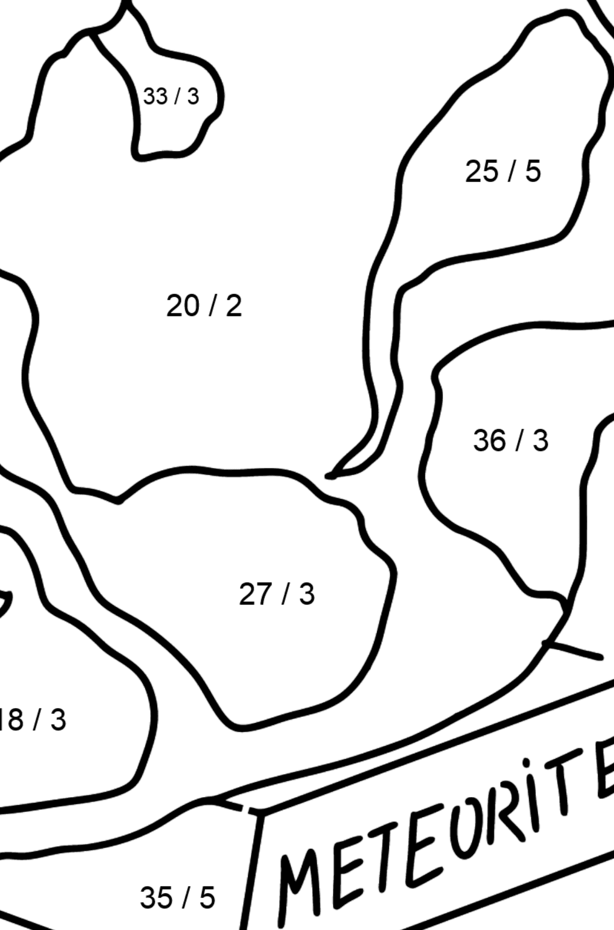 Meteorite coloring page - Math Coloring - Division for Kids