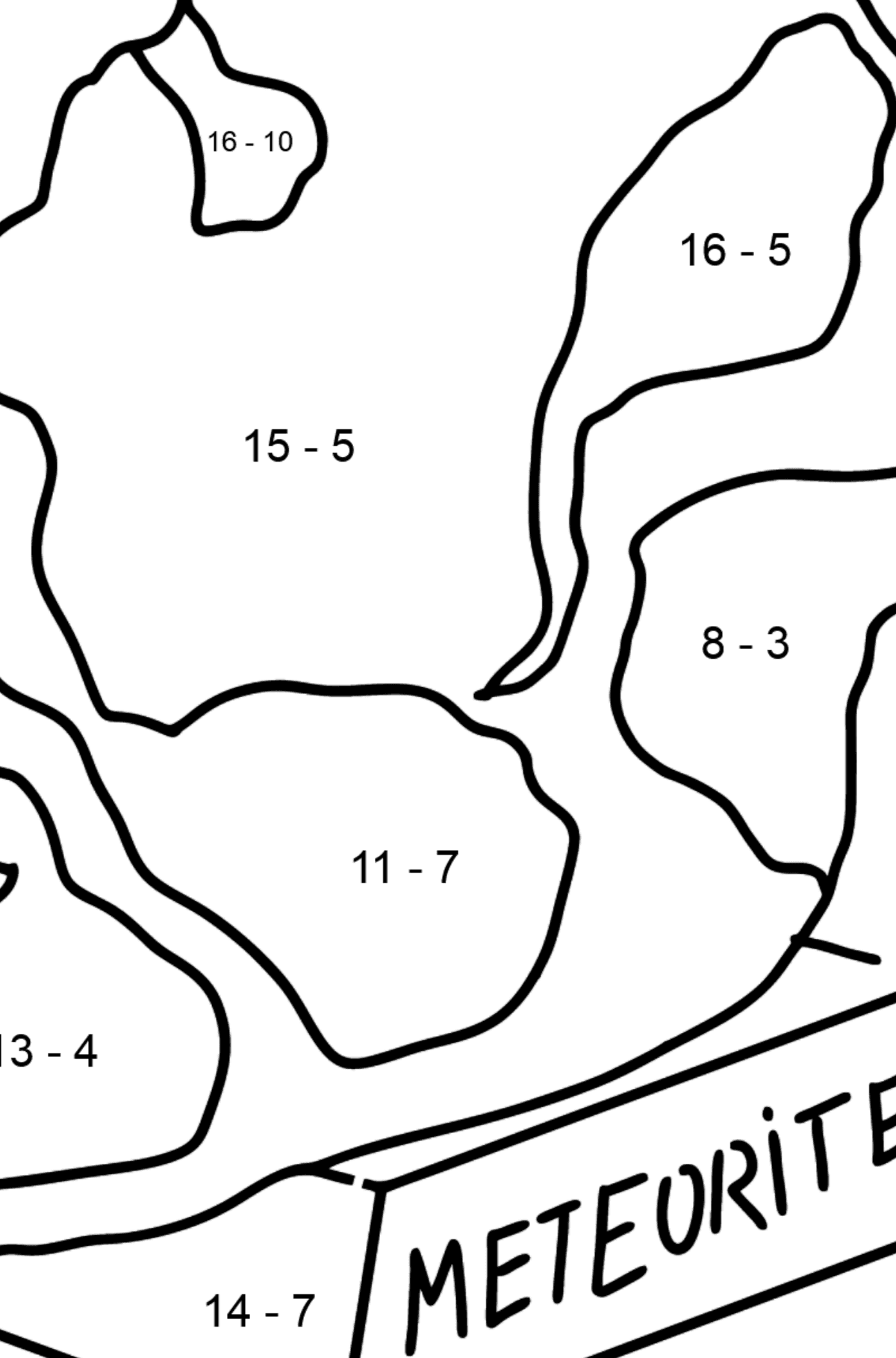 Meteorite coloring page - Math Coloring - Subtraction for Kids