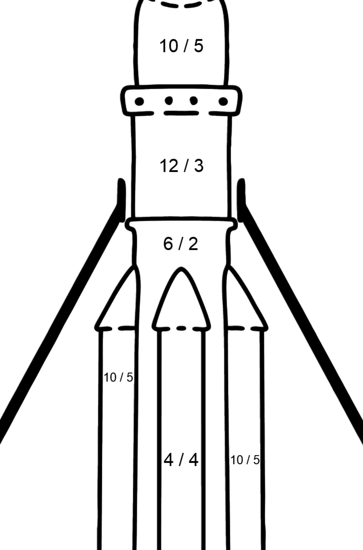 Rocket coloring page - Math Coloring - Division for Kids