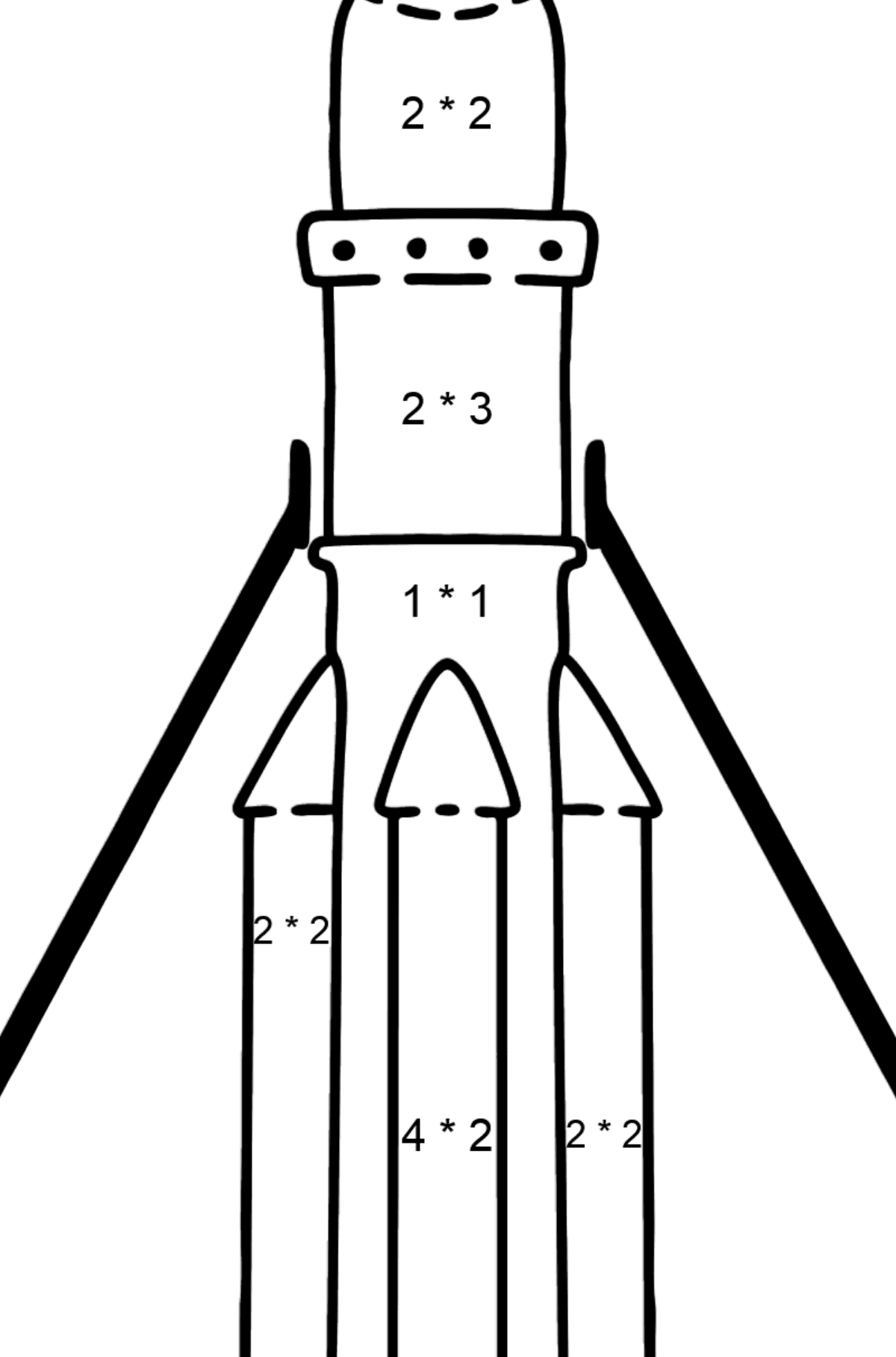 Rocket coloring page - Math Coloring - Multiplication for Kids