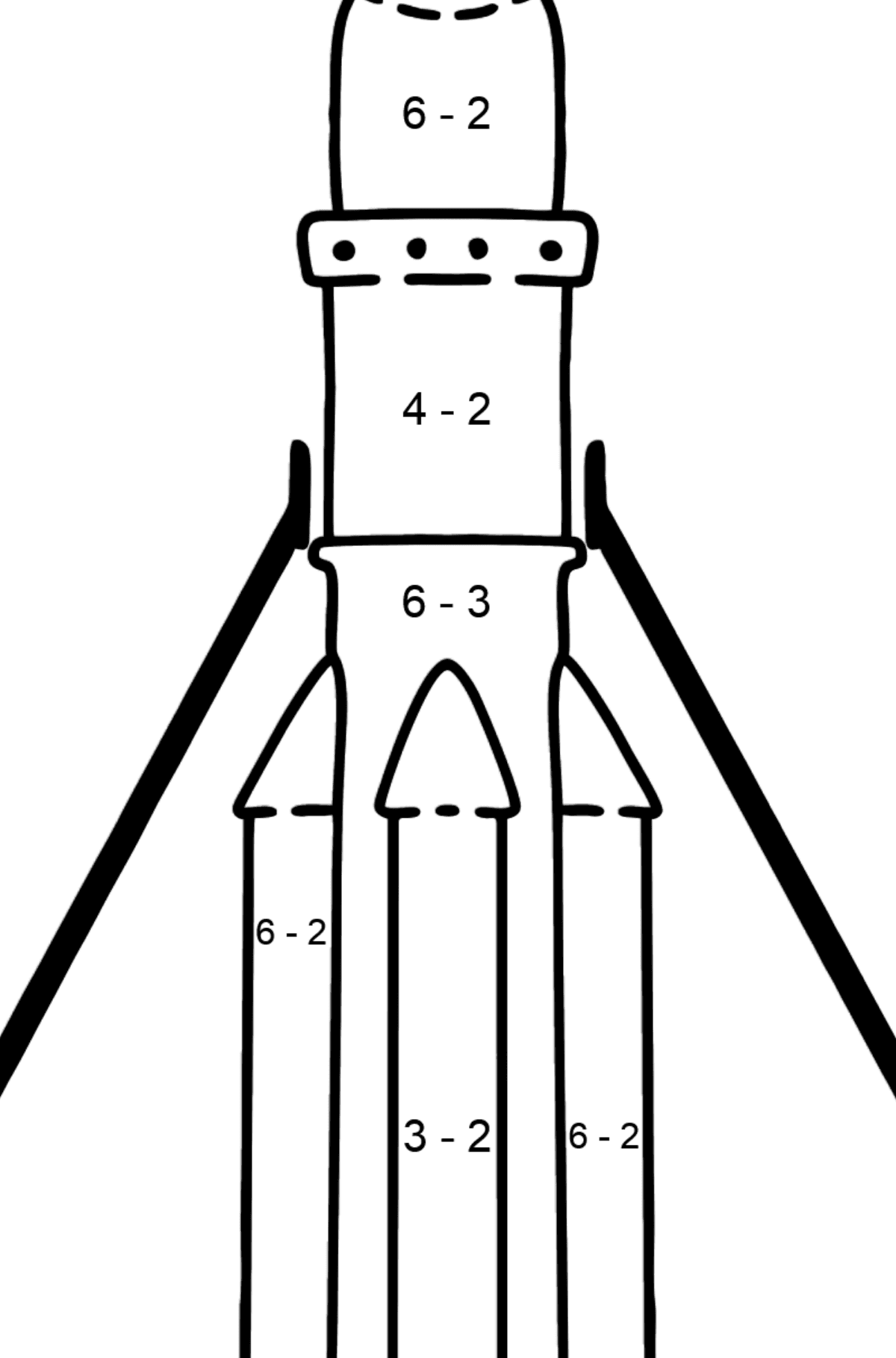 Rocket coloring page - Math Coloring - Subtraction for Kids