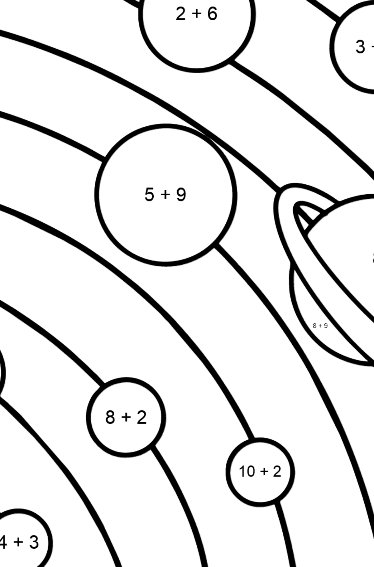 Solar System - Simple coloring page - Math Coloring - Addition for Kids