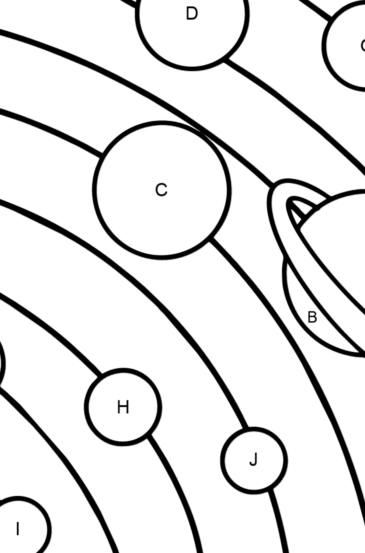 Solar System - Simple coloring page - Coloring by Letters for Kids