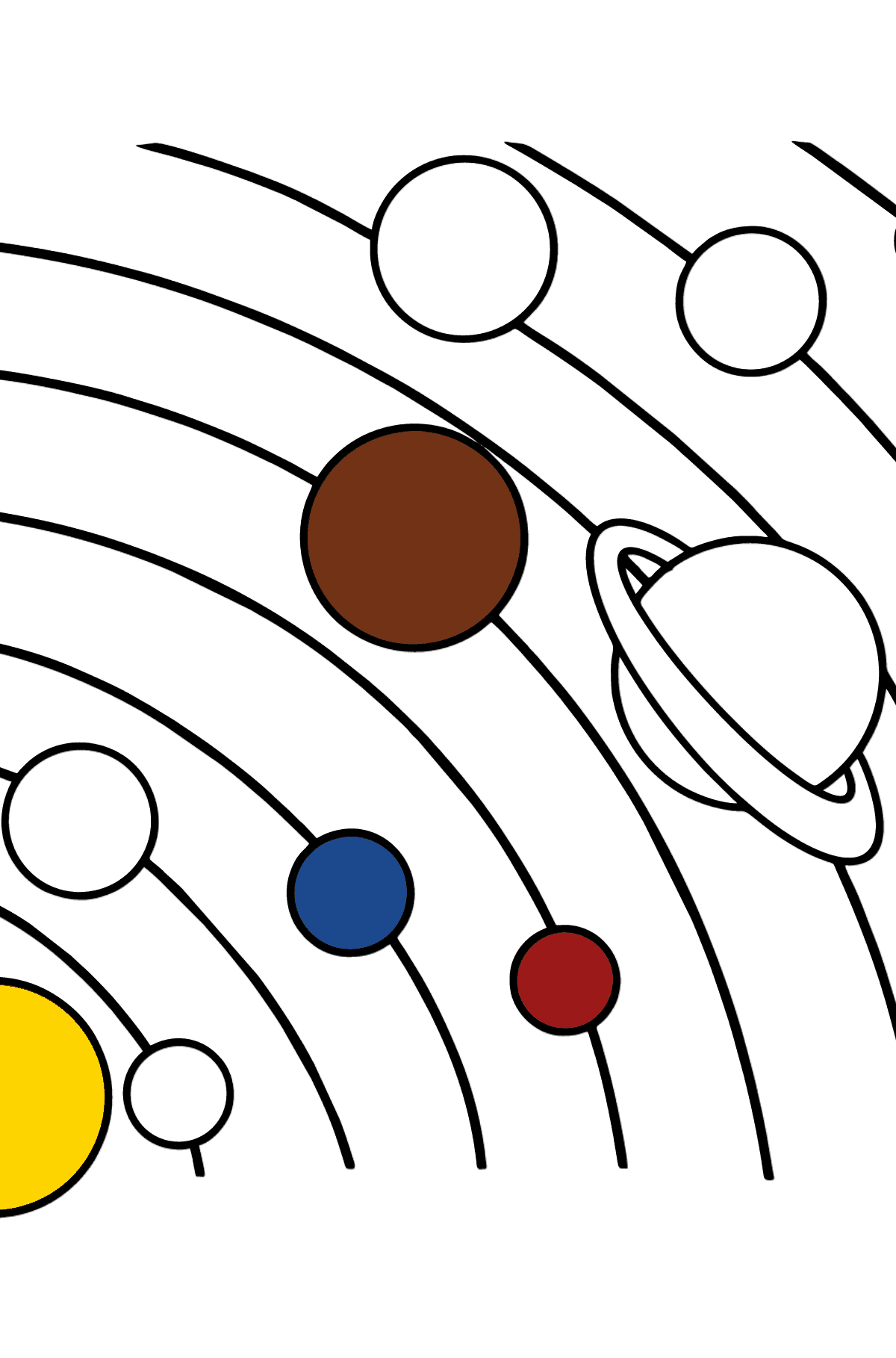 Solar System - Simple coloring page - Coloring Pages for Kids