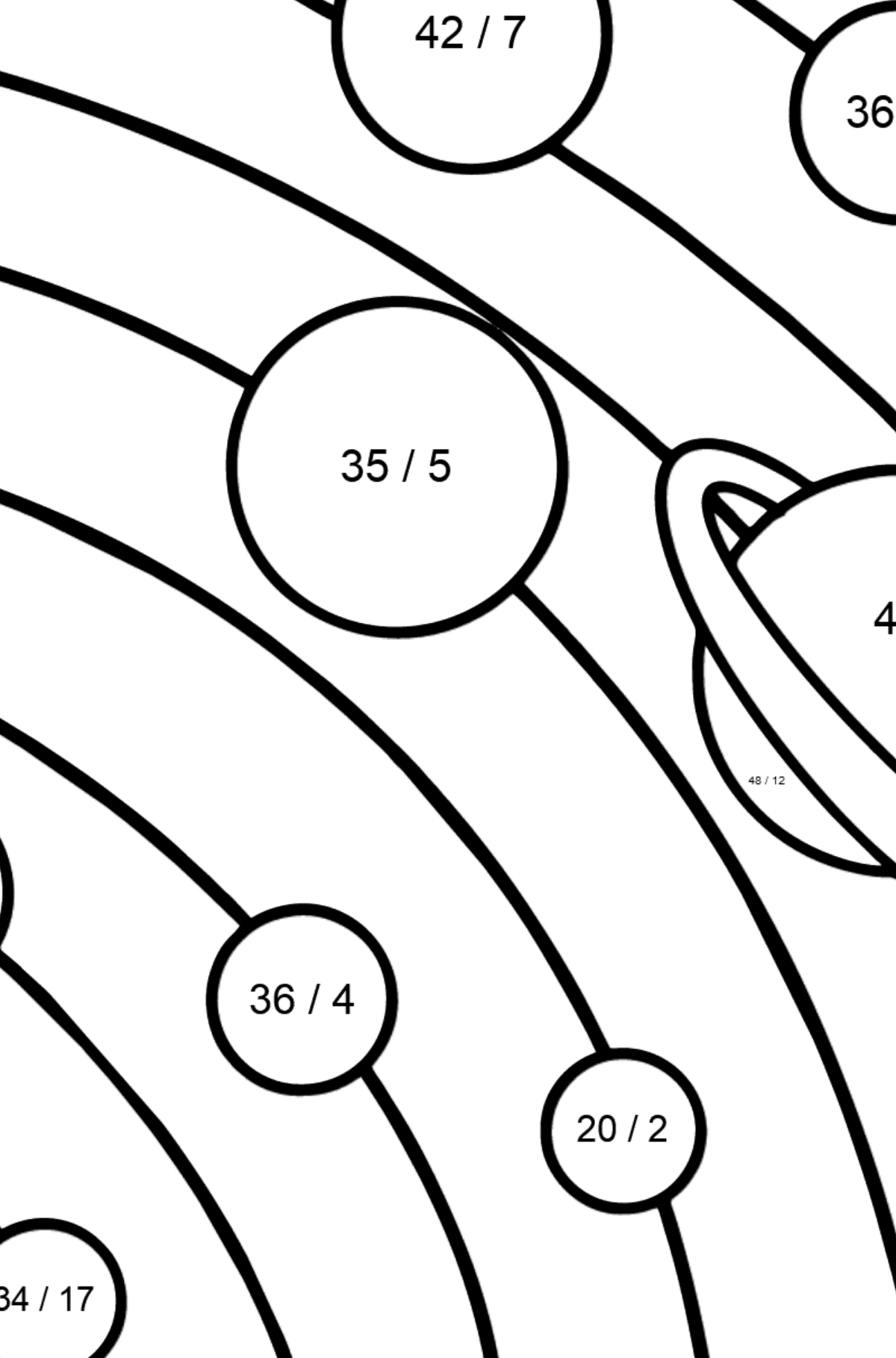 Solar System - Simple coloring page - Math Coloring - Division for Kids