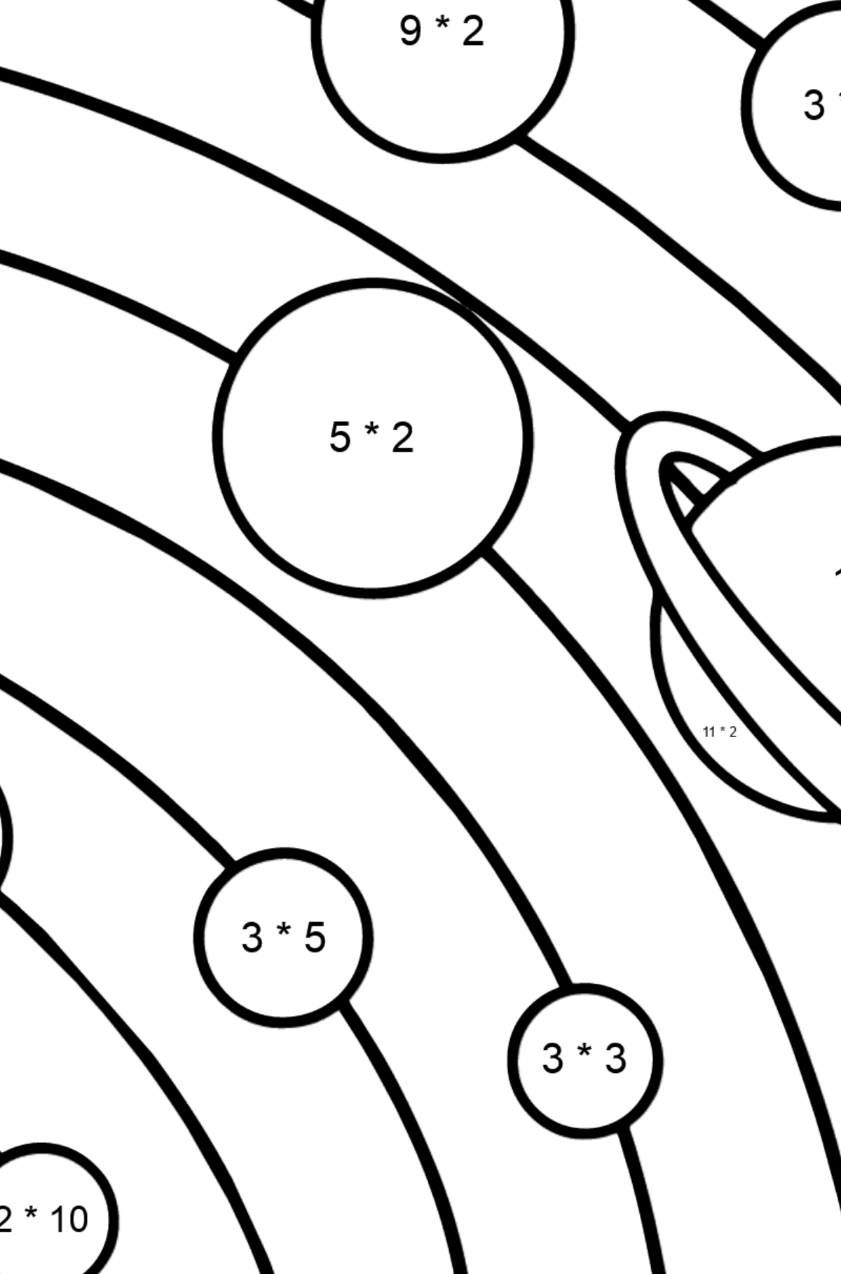 Solar System - Simple coloring page - Math Coloring - Multiplication for Kids