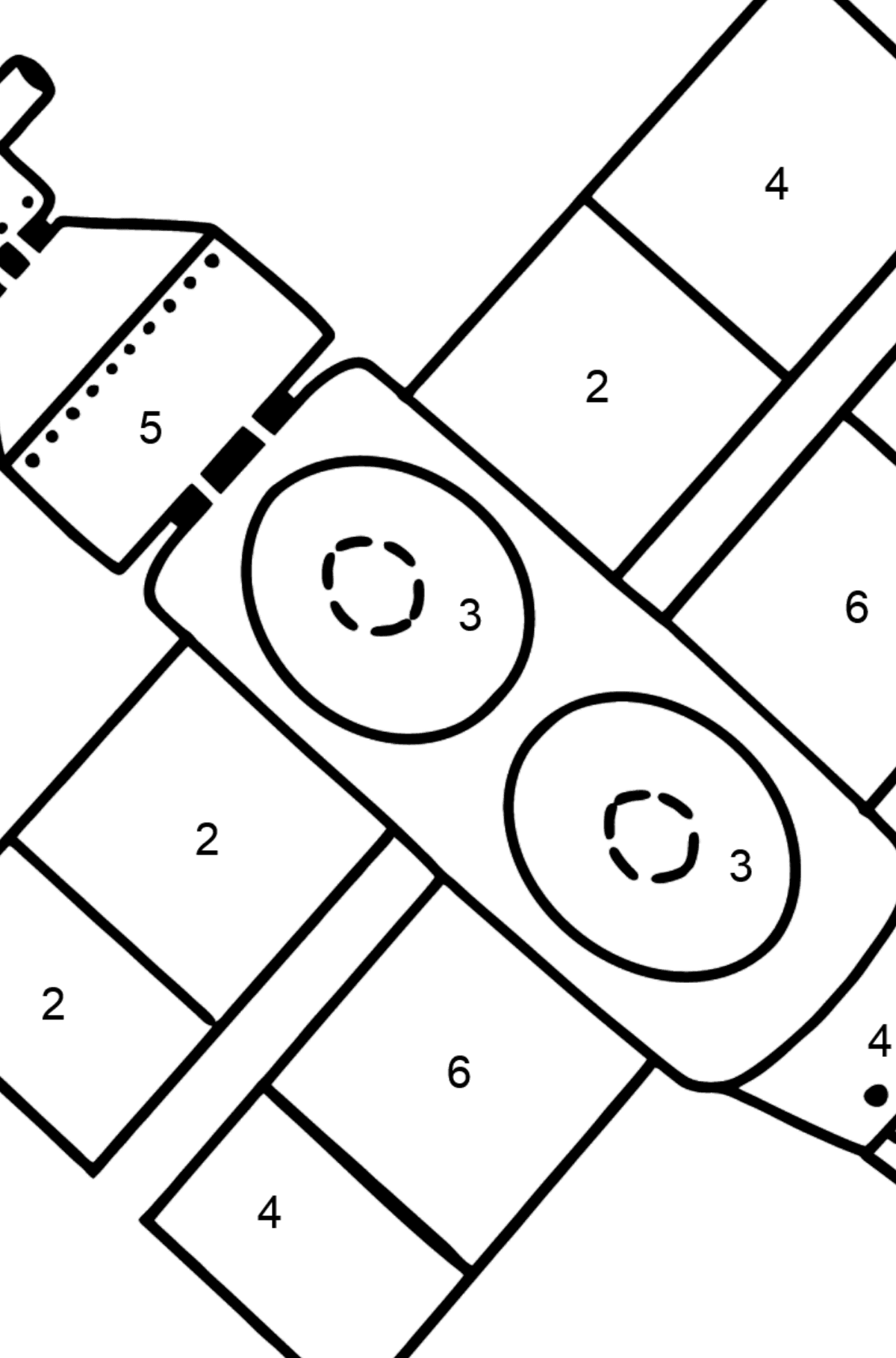 Spaceship coloring page - Coloring by Numbers for Kids