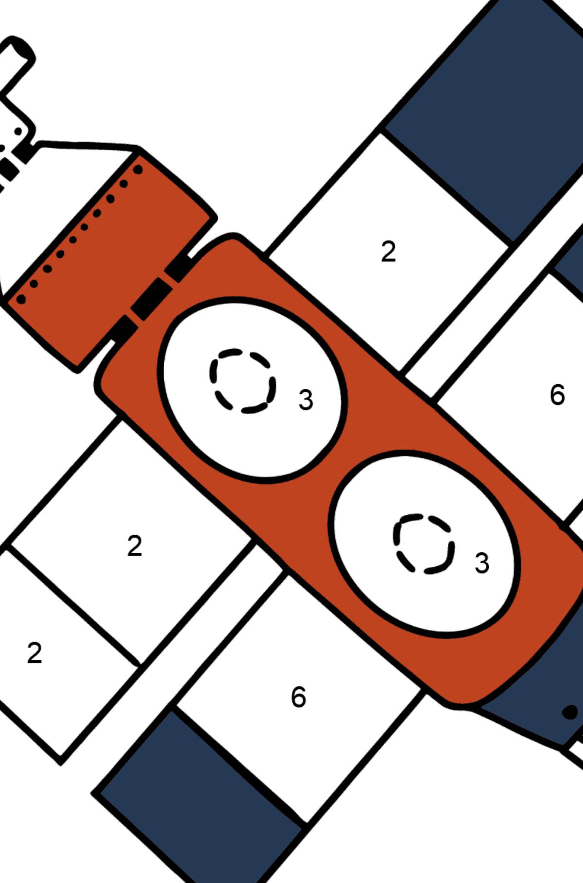 Раскраска космический корабль - Раскраска по Номерам для Детей