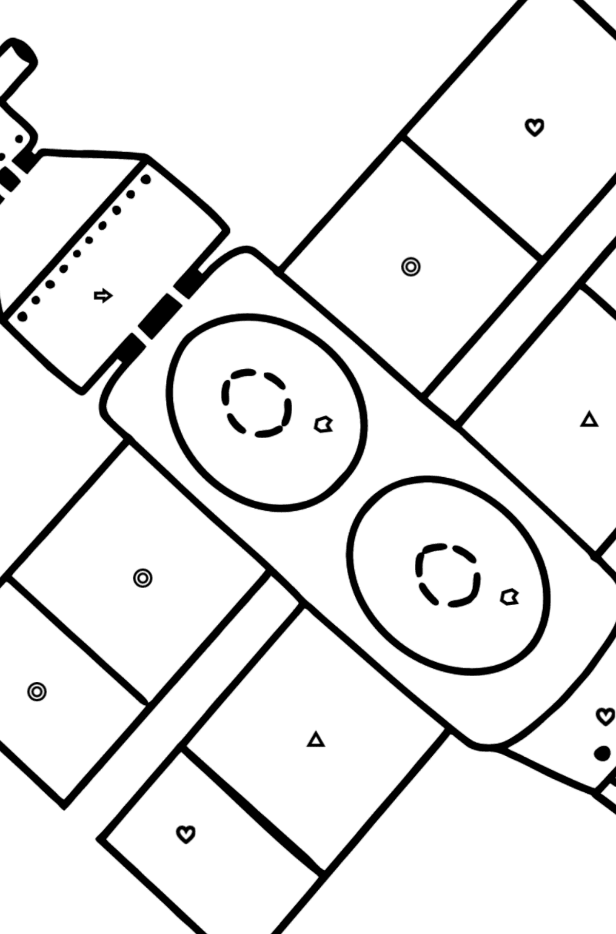 Spaceship coloring page - Coloring by Geometric Shapes for Kids