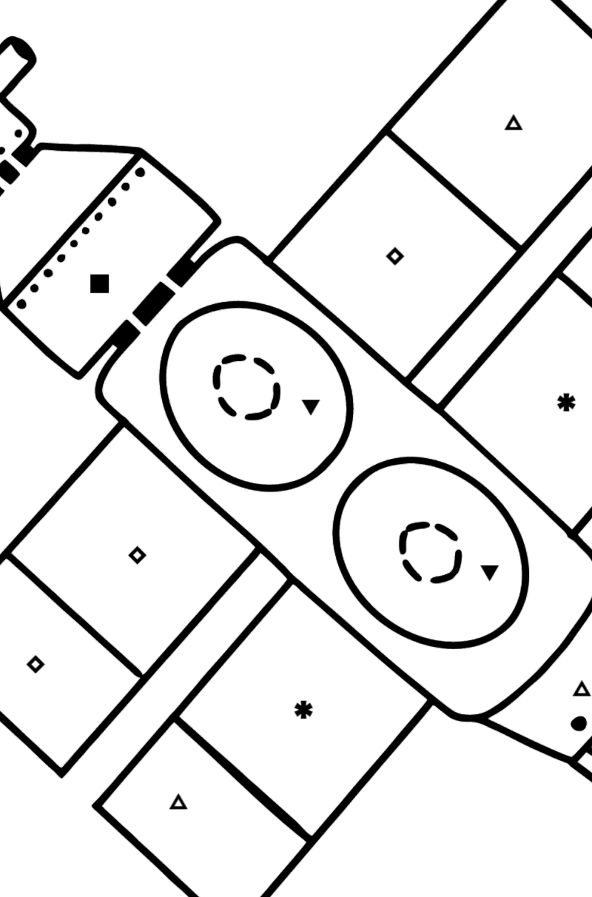 Spaceship coloring page - Coloring by Symbols and Geometric Shapes for Kids