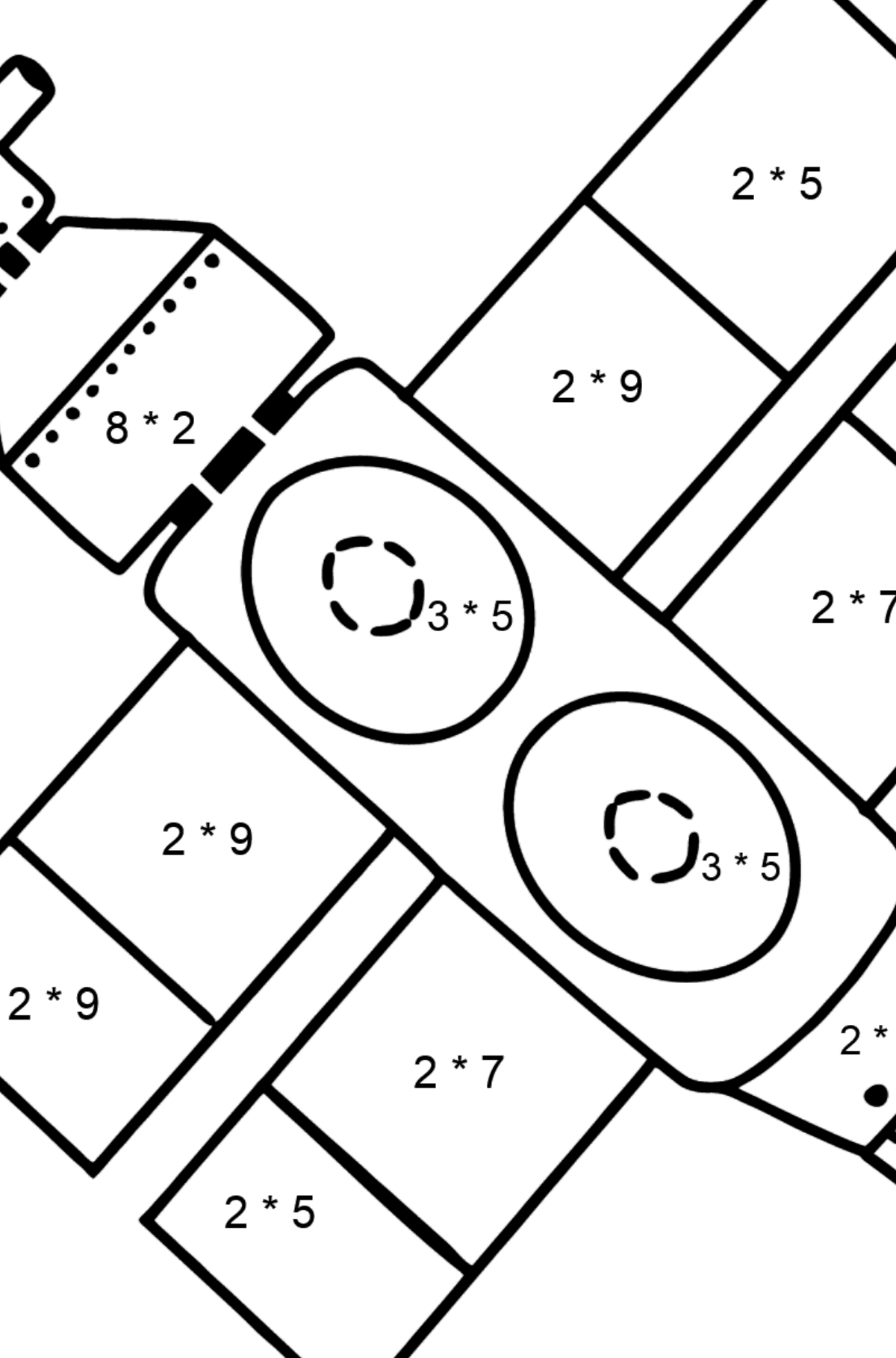 Spaceship coloring page - Math Coloring - Multiplication for Kids