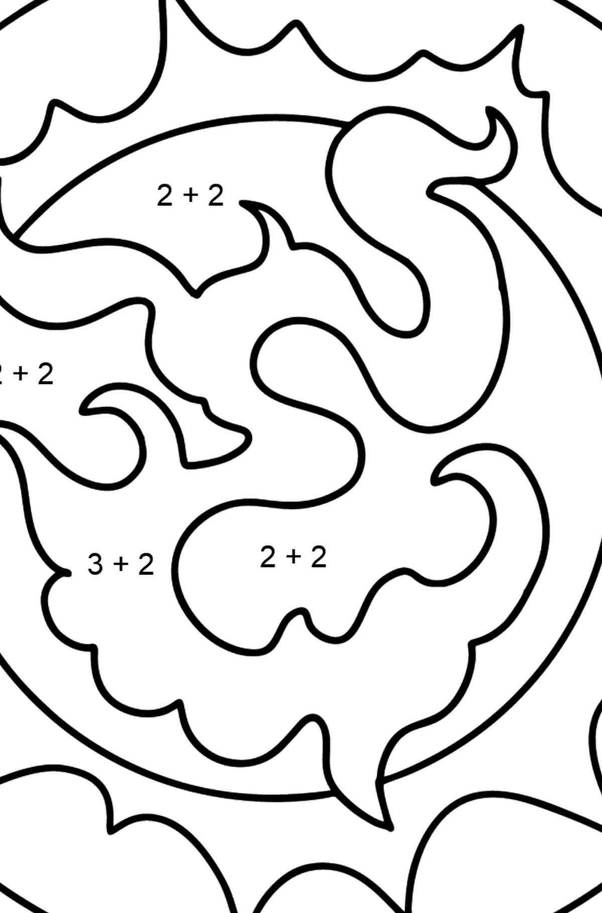 Star coloring page - Math Coloring - Addition for Kids
