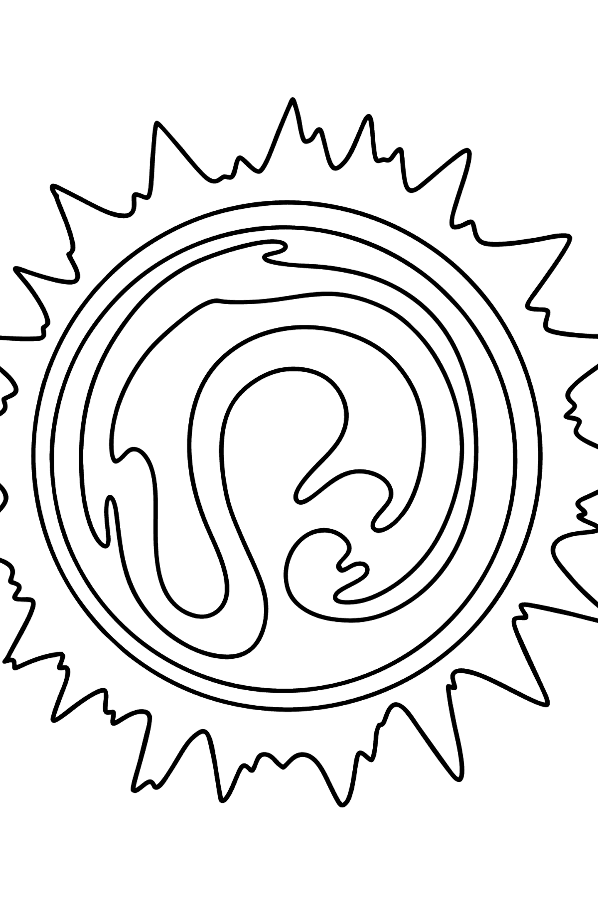 Sun - Solar System Star coloring page - Coloring Pages for Kids