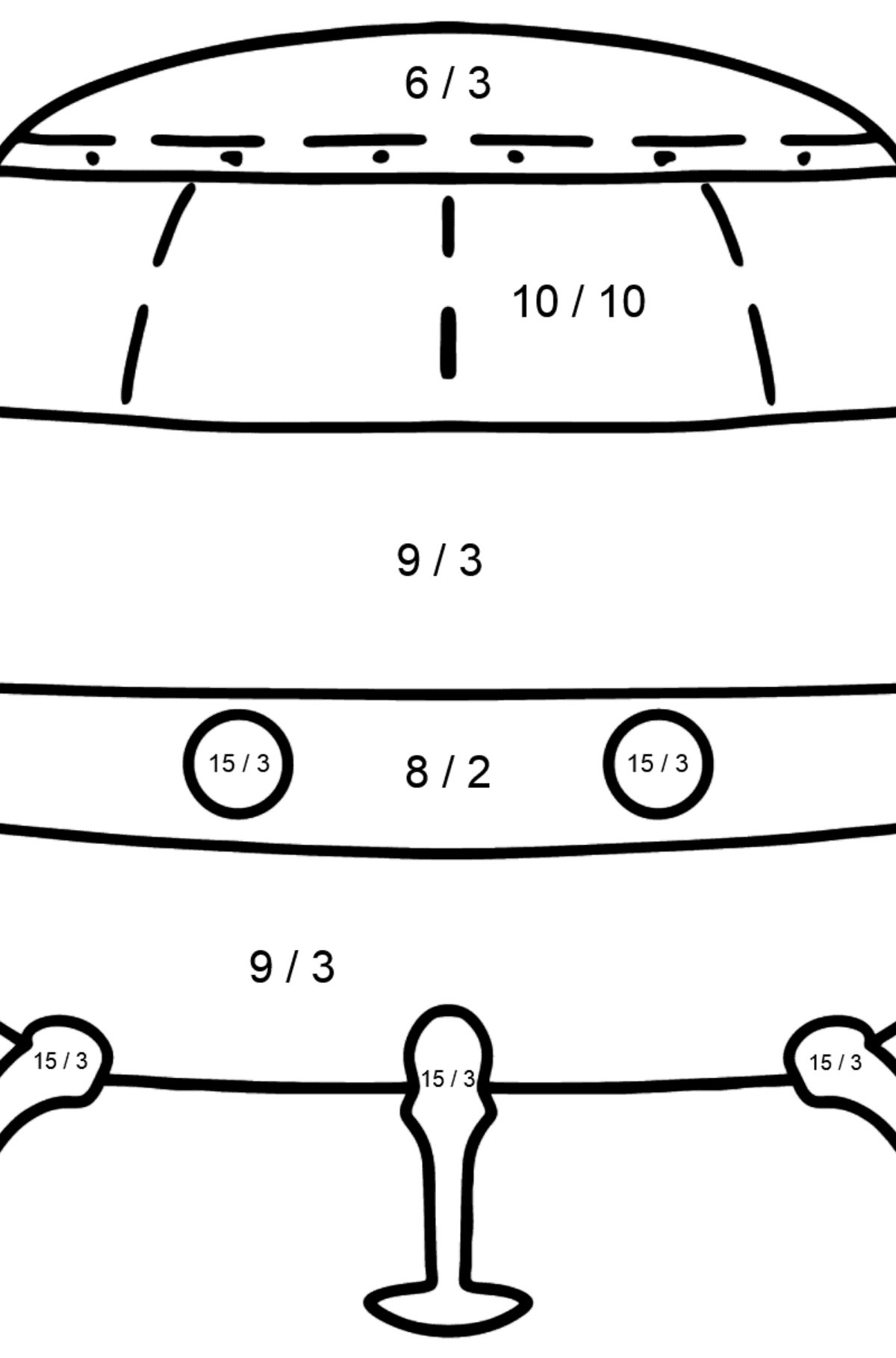 Ufo coloring page - Math Coloring - Division for Kids