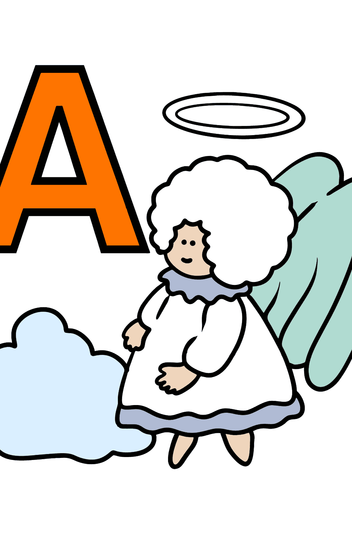 Spanish Letter A coloring pages - ÁNGEL - Coloring Pages for Kids