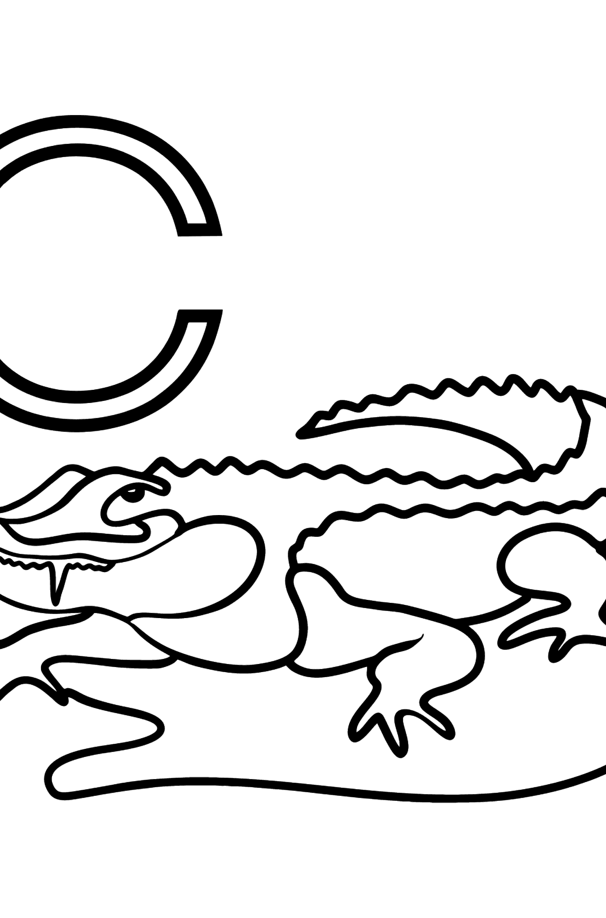 Spanish Letter C coloring pages - COCODRILO - Coloring Pages for Kids