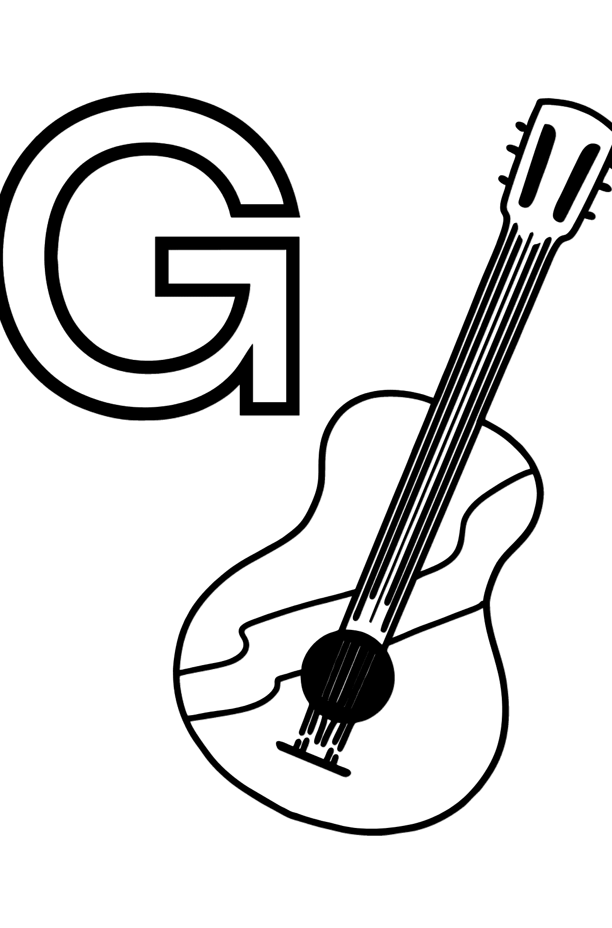 Spanish Letter G coloring pages - GUITARRA - Coloring Pages for Kids