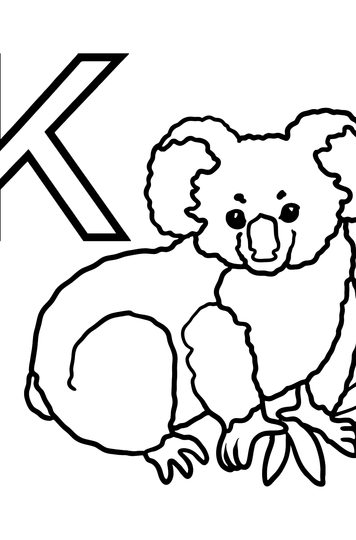 Spanish Letter K coloring pages - KOALA - Coloring Pages for Kids