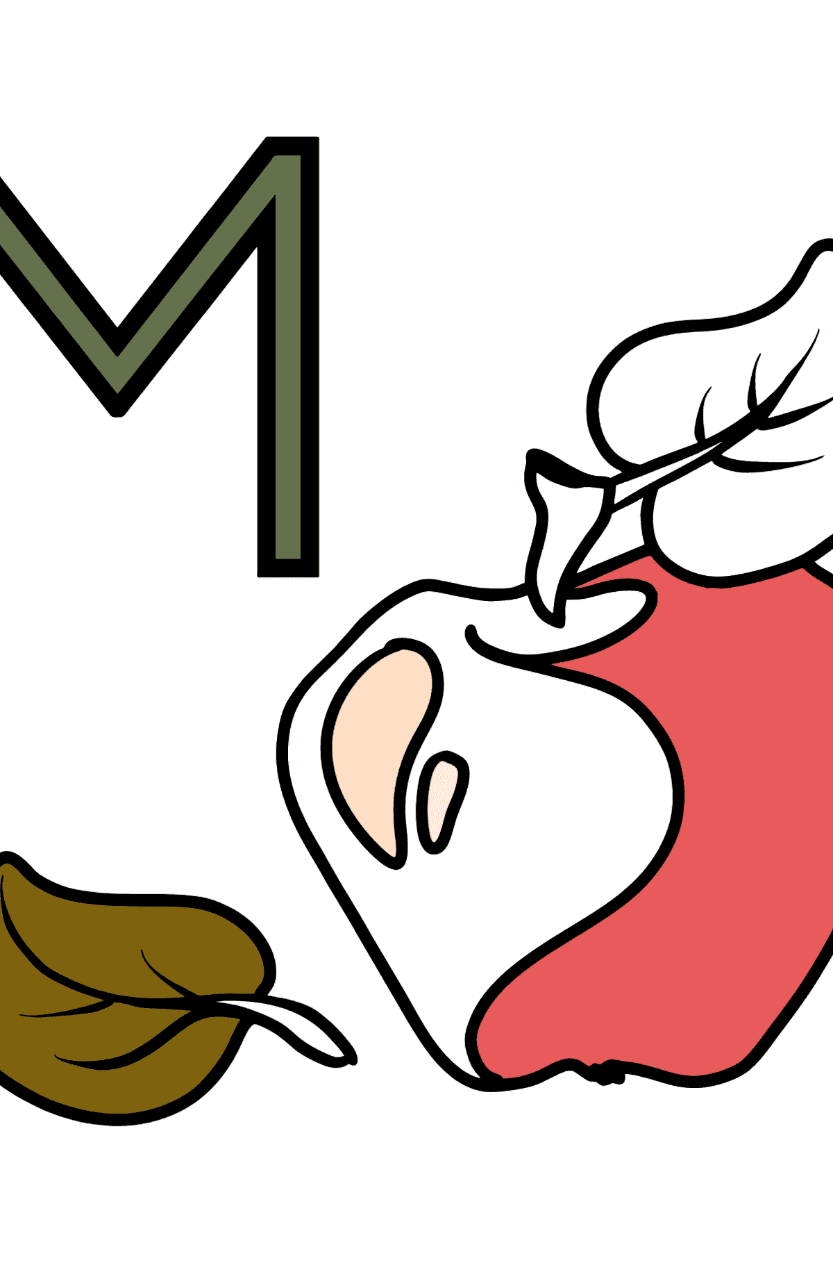 Spanish Letter M coloring pages - MANZANA - Coloring Pages for Kids