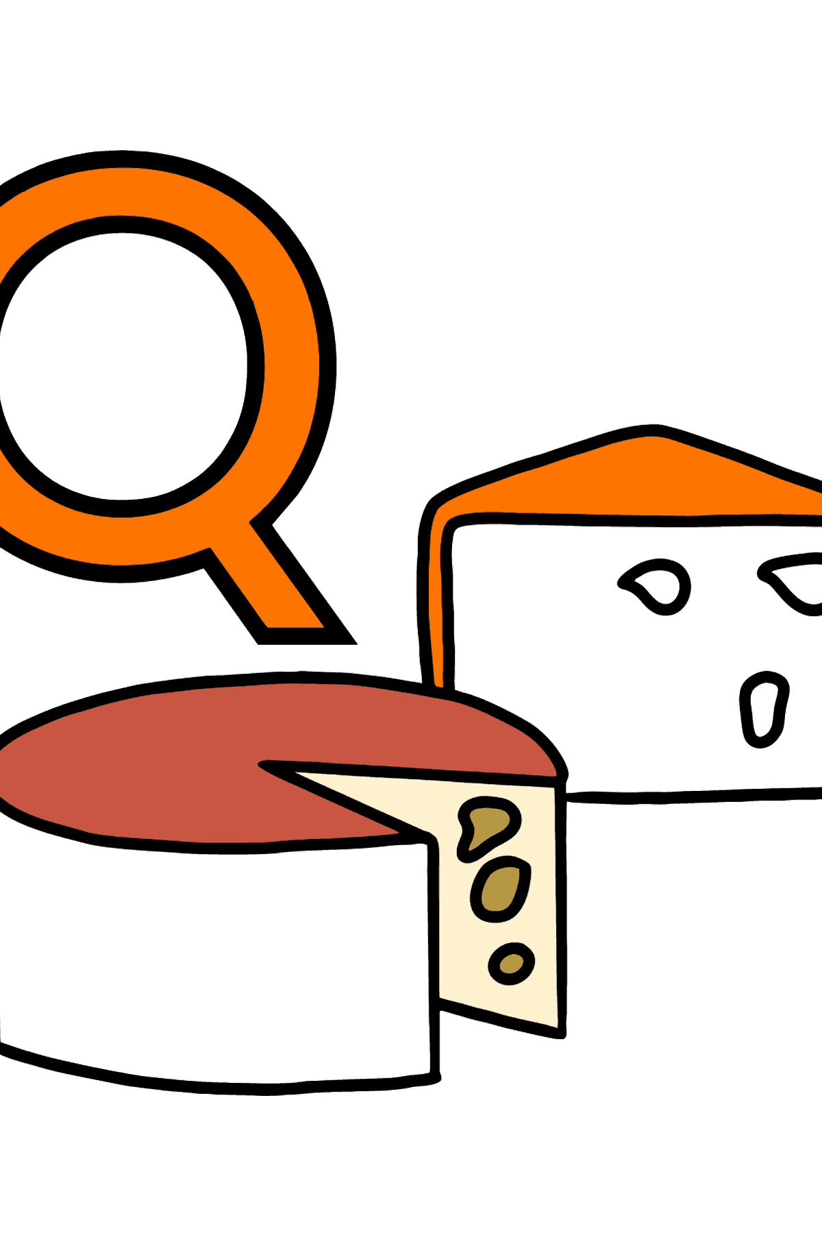 Spanish Letter Q coloring pages - QUESO - Coloring Pages for Kids