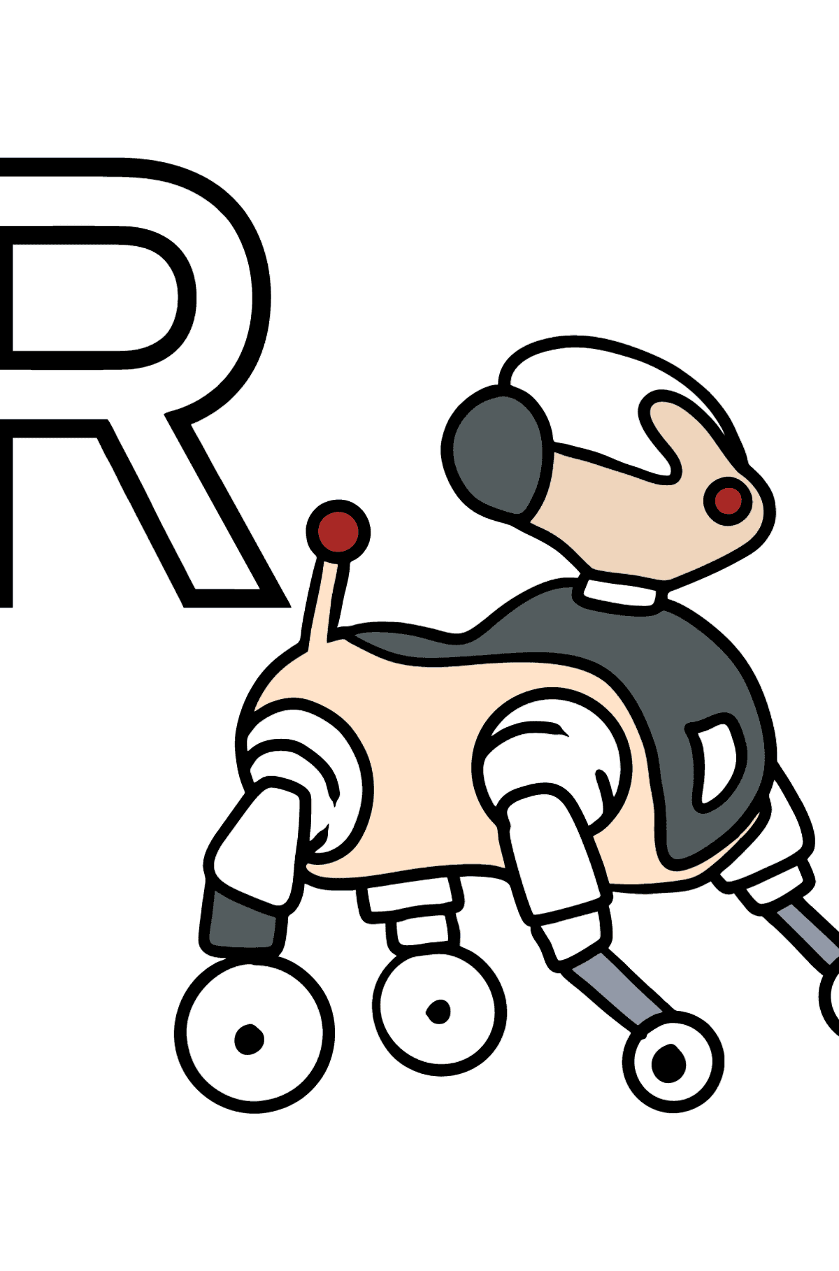 Spanish Letter R coloring pages - ROBOT - Coloring Pages for Kids