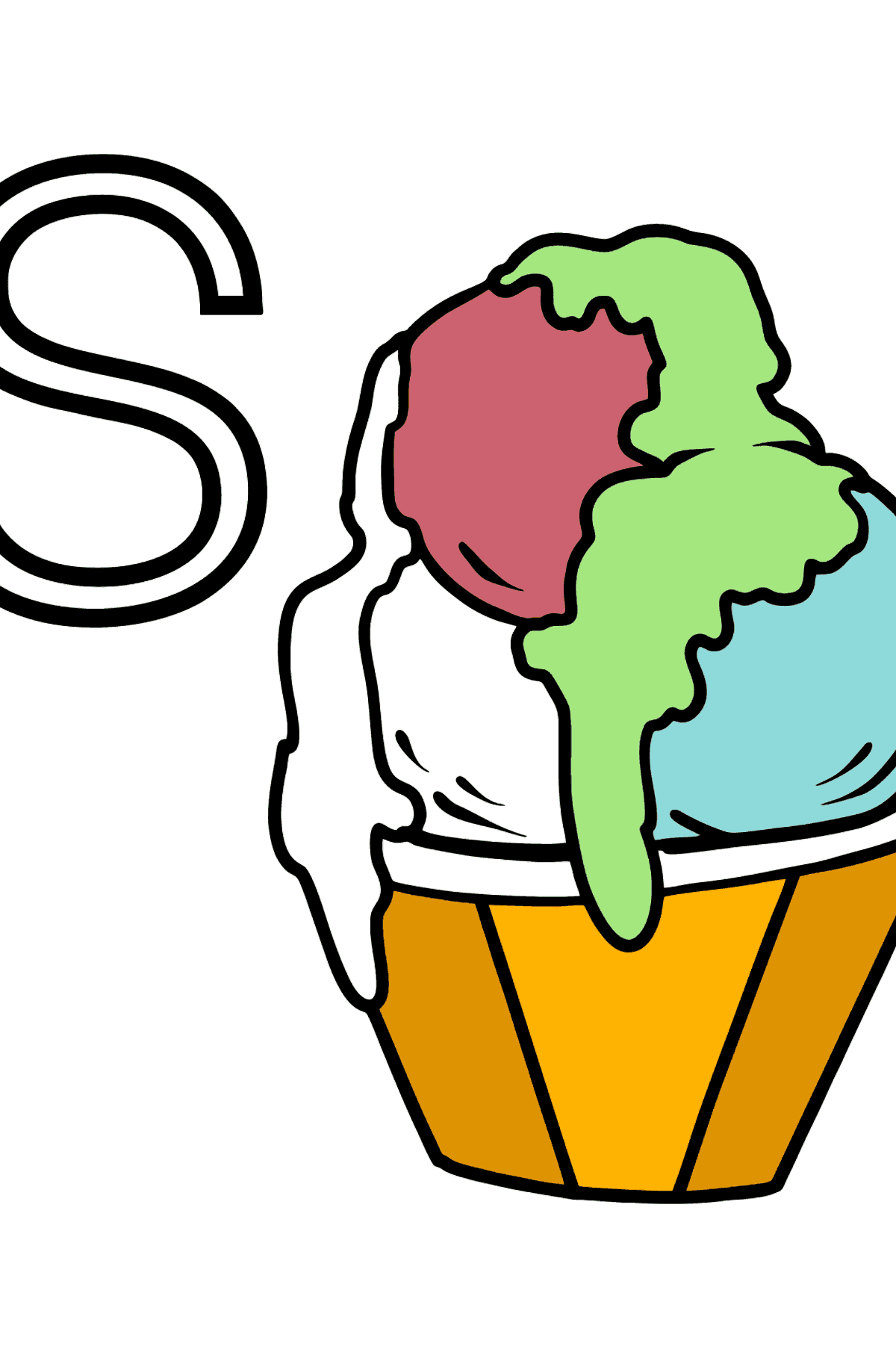 Spanish Letter S coloring pages - SORBETE - Coloring Pages for Kids