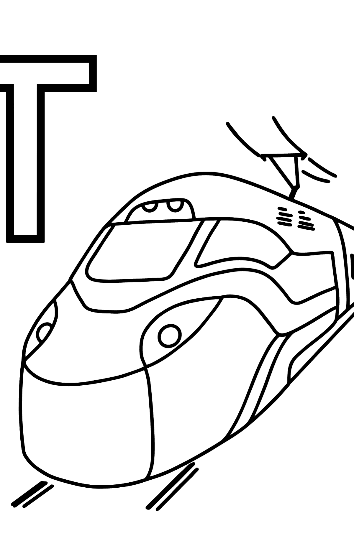 Spanish Letter T coloring pages - TREN - Coloring Pages for Kids