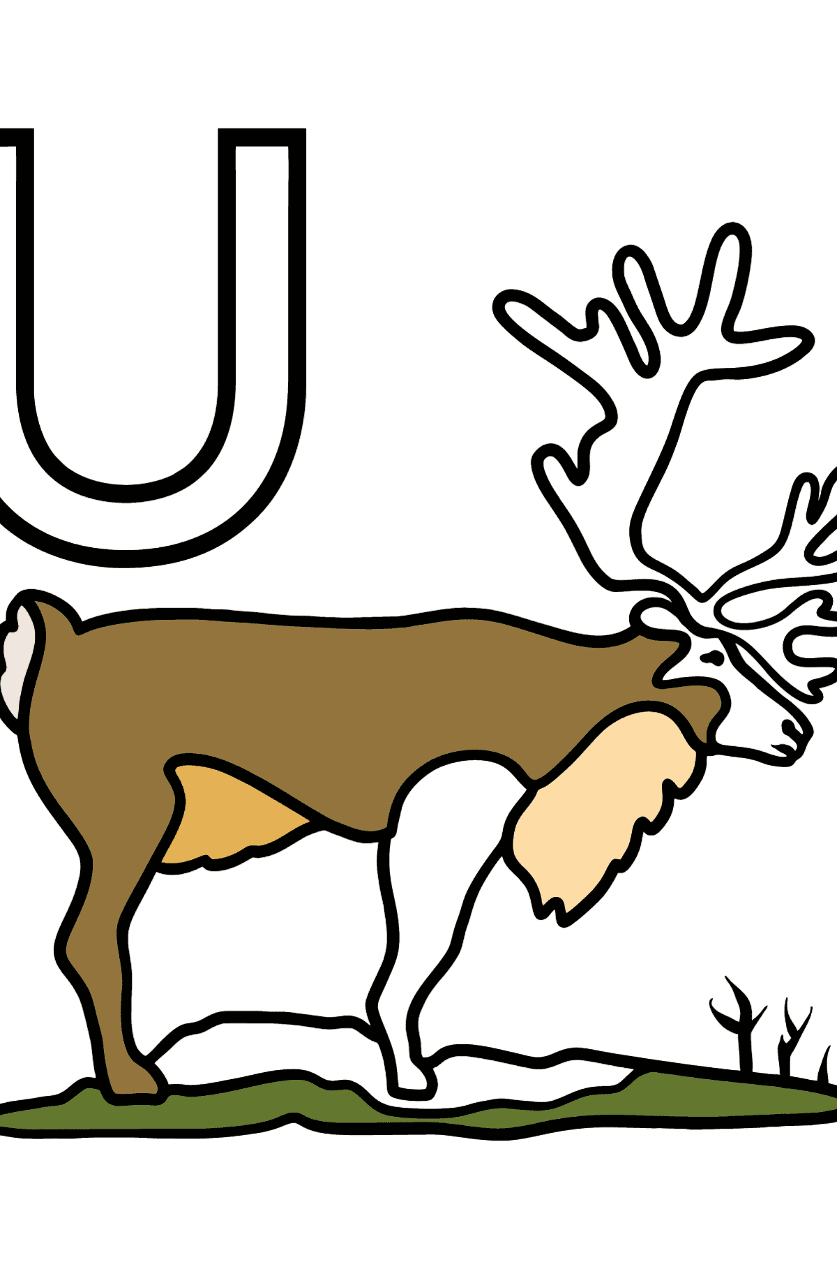 Spanish Letter U coloring pages - UAPITI - Coloring Pages for Kids