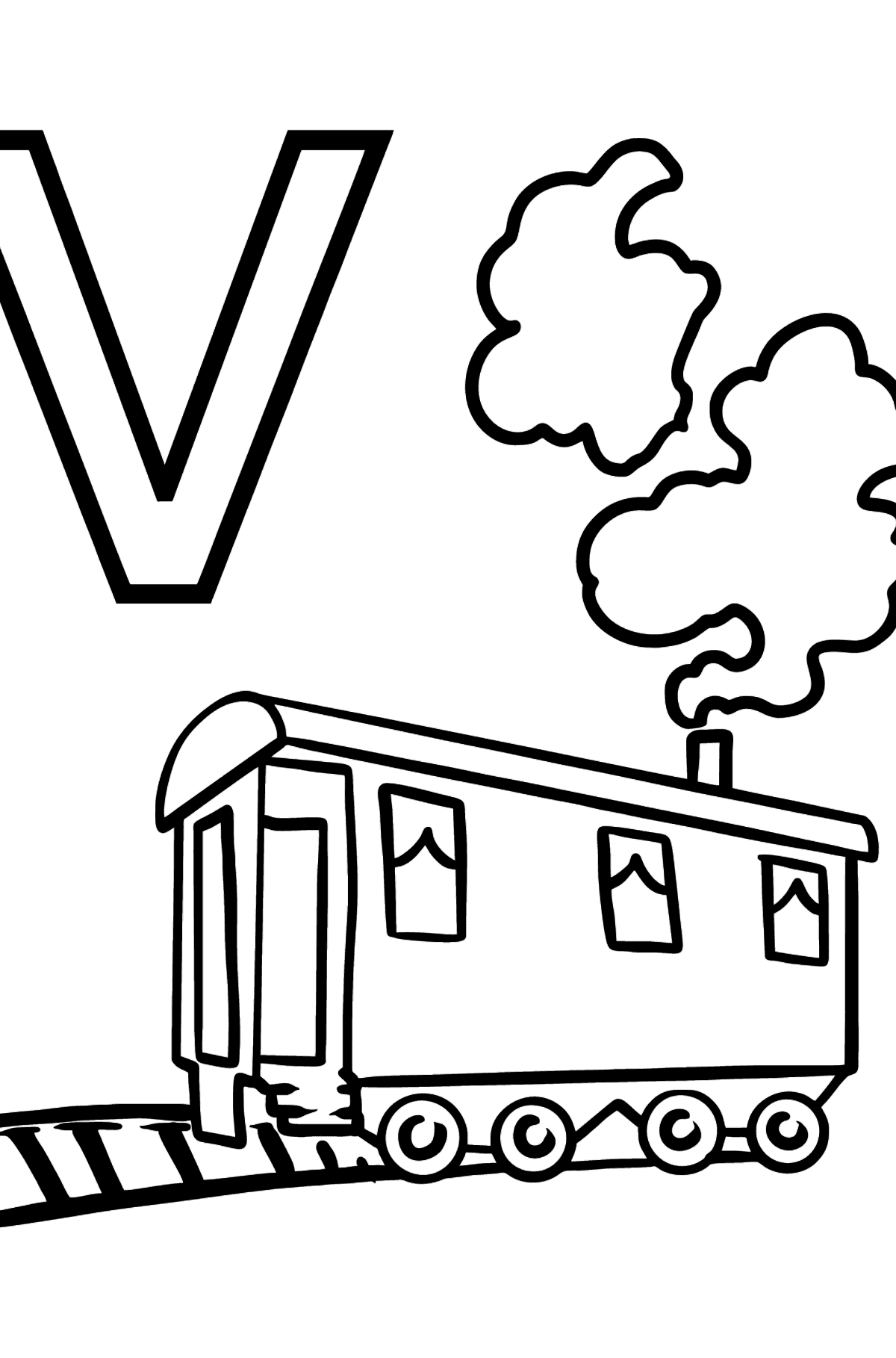 Spanish Letter V coloring pages - VAGÓN - Coloring Pages for Kids