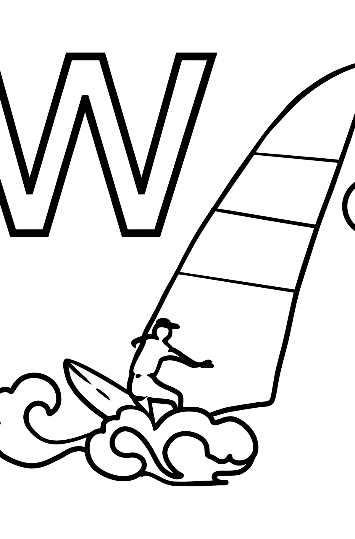 Spanish Letter W coloring pages - WINDSURF - Coloring Pages for Kids