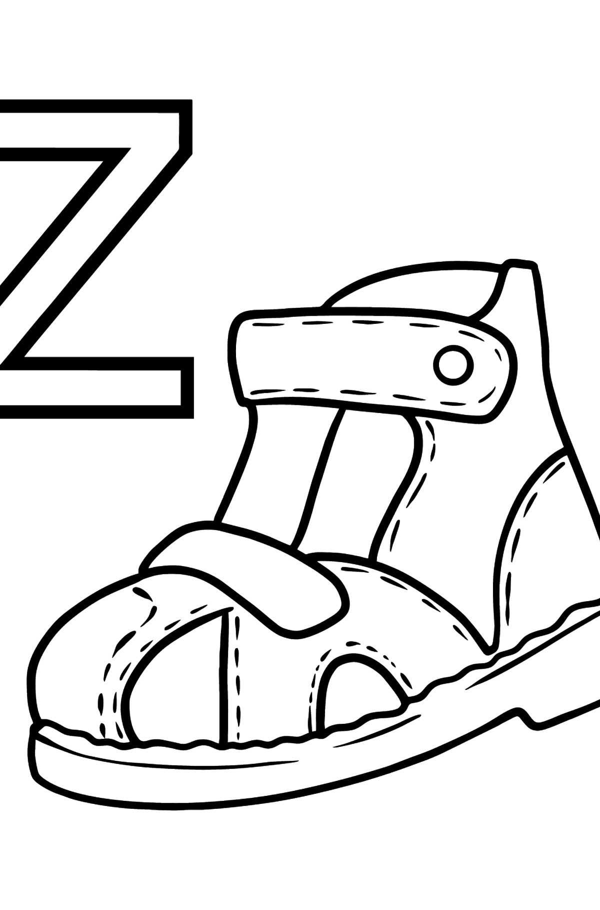 Spanish Letter Z coloring pages - ZAPATO - Coloring Pages for Kids