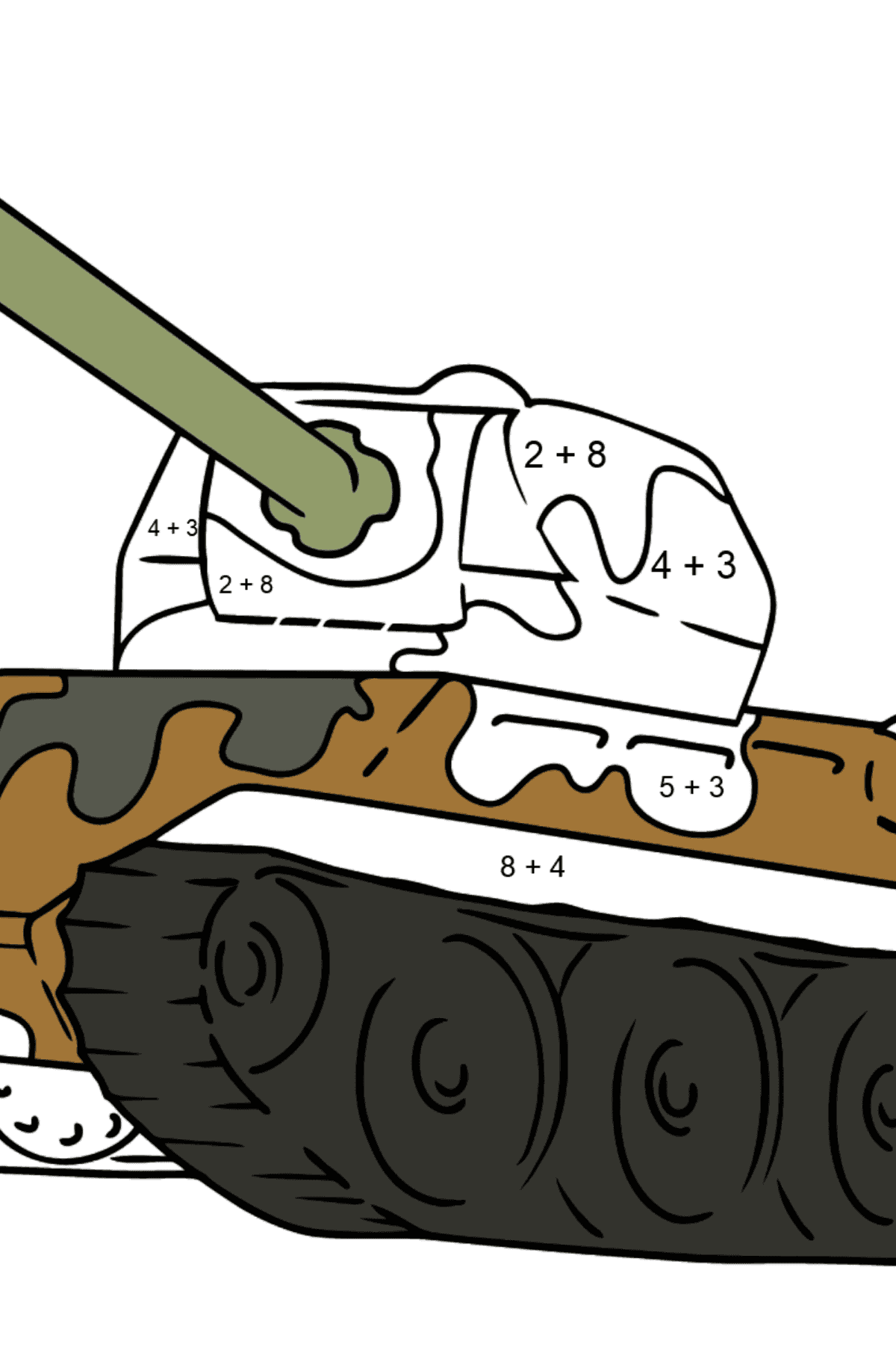 Tank with Anti-Aircraft Gun coloring page - Math Coloring - Addition for Kids