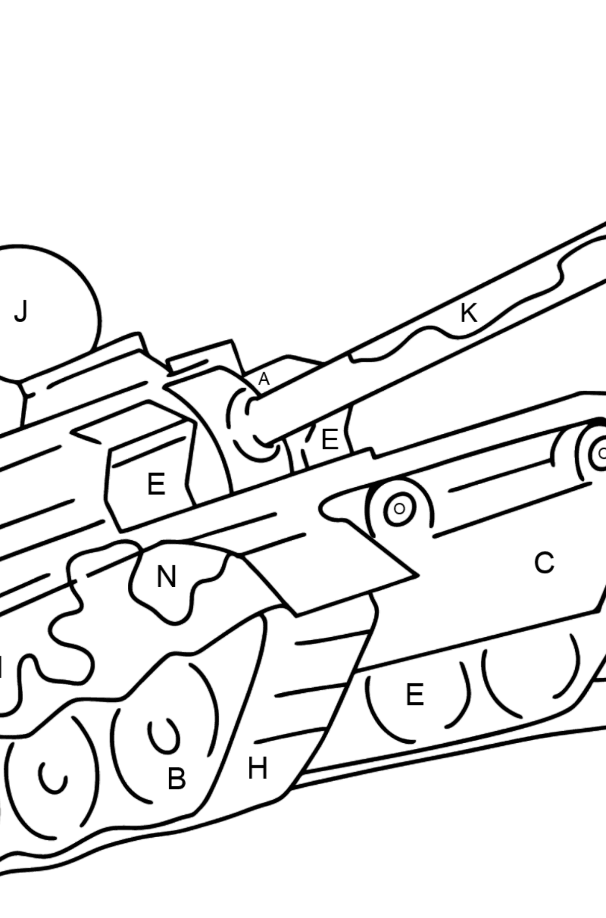 Military Tank coloring page - Coloring by Letters for Kids