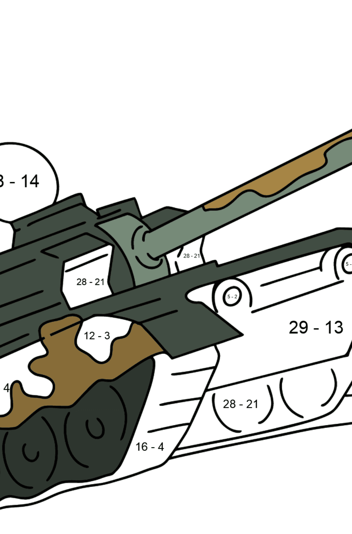 Military Tank coloring page - Math Coloring - Subtraction for Kids