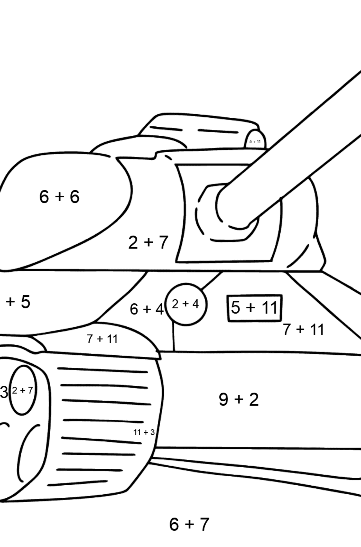 Tank IS 2 coloring page - Math Coloring - Addition for Kids
