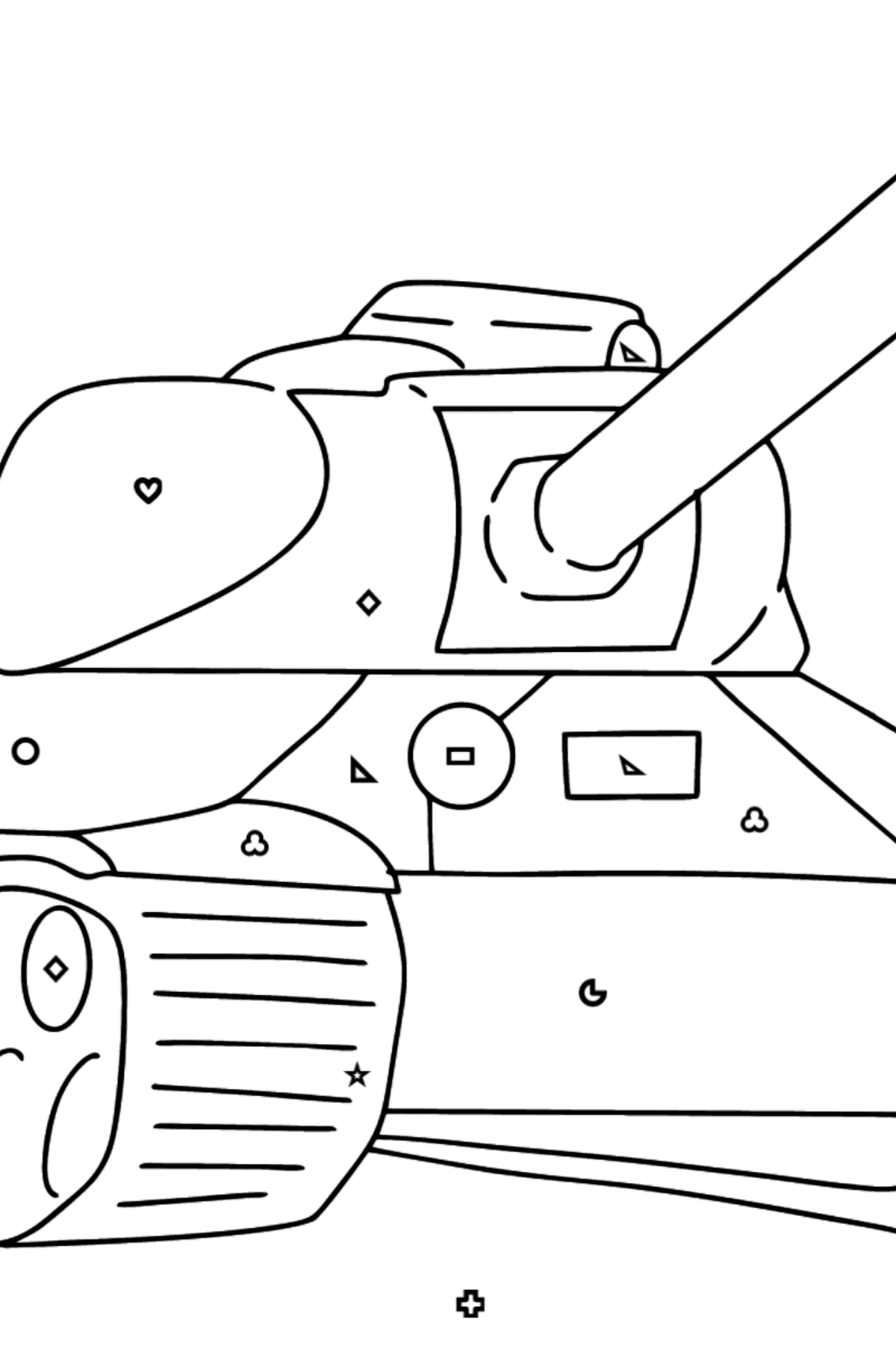 Tank IS 2 coloring page - Coloring by Geometric Shapes for Kids
