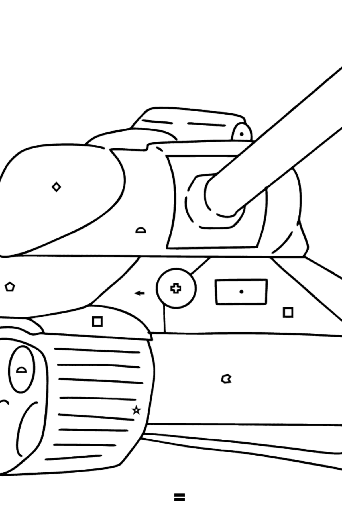 Tank IS 2 coloring page - Coloring by Symbols and Geometric Shapes for Kids