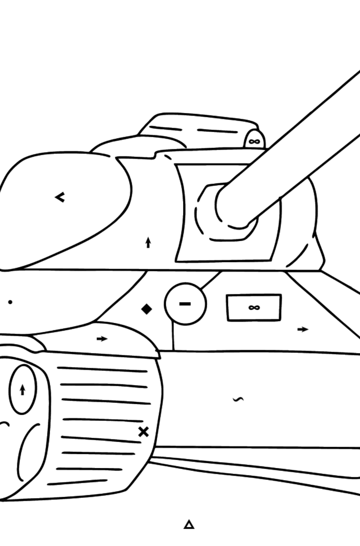 Tank IS 2 coloring page - Coloring by Symbols for Kids