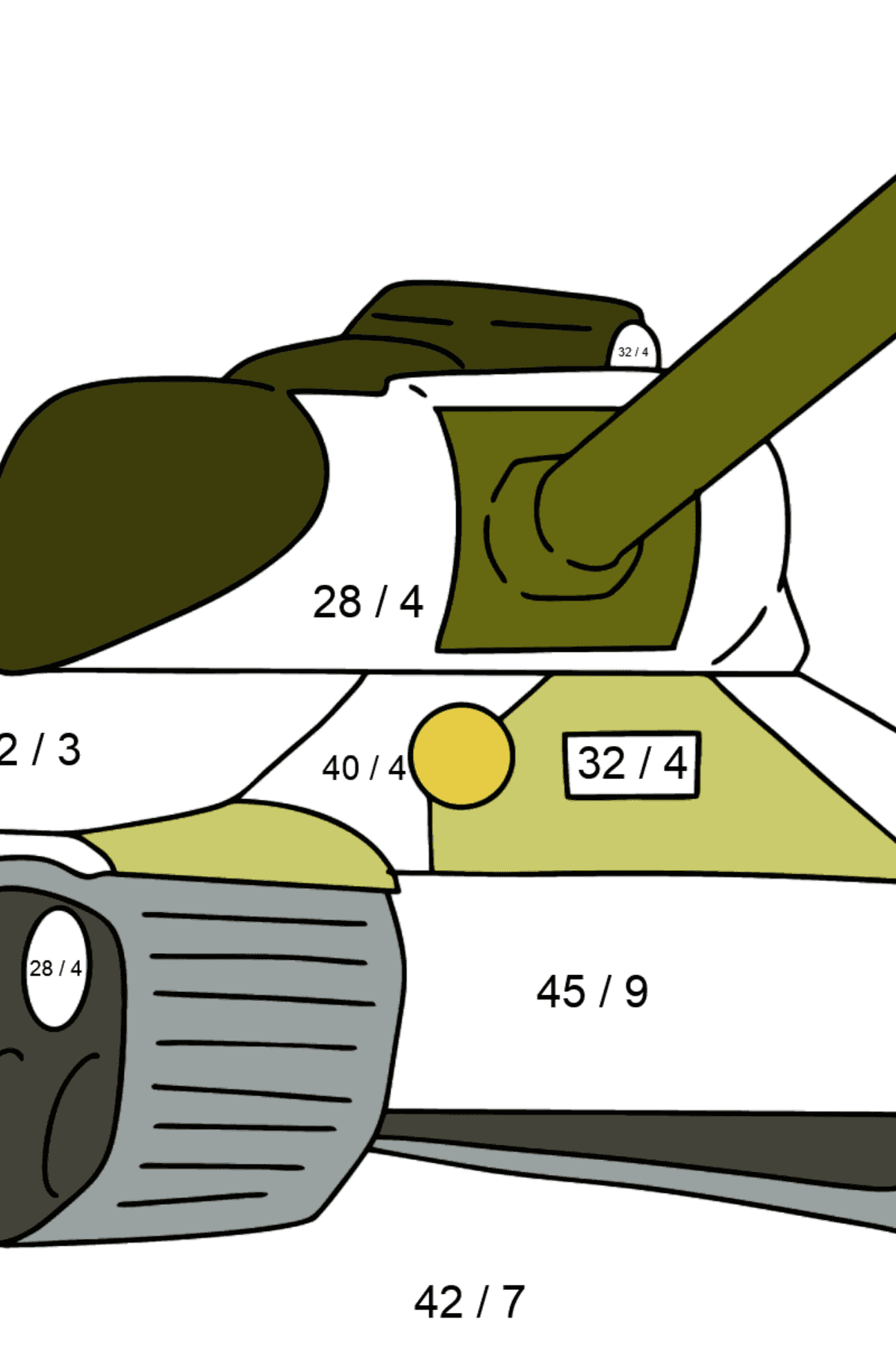 Tank IS 2 coloring page - Math Coloring - Division for Kids